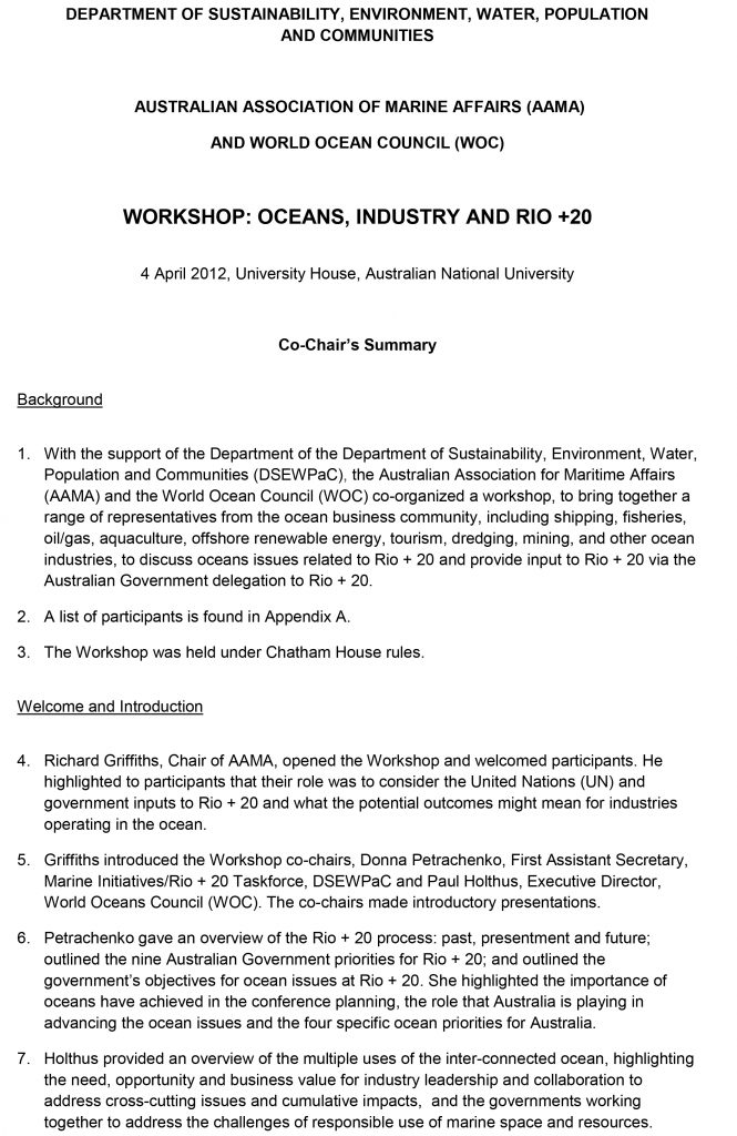 Australian Association of Marine Affairs Workshop