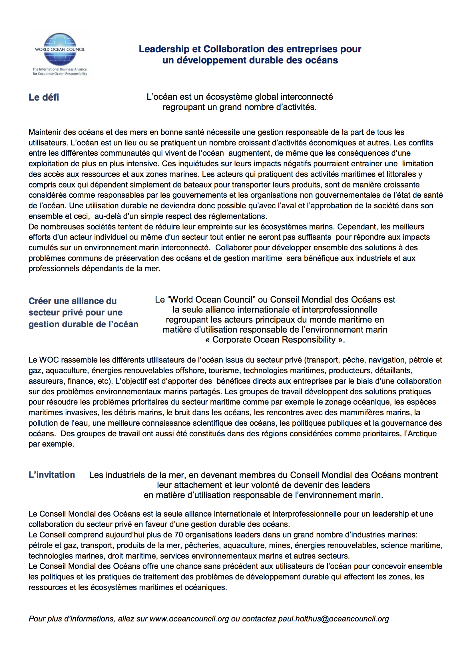 WOC in One Page, in French