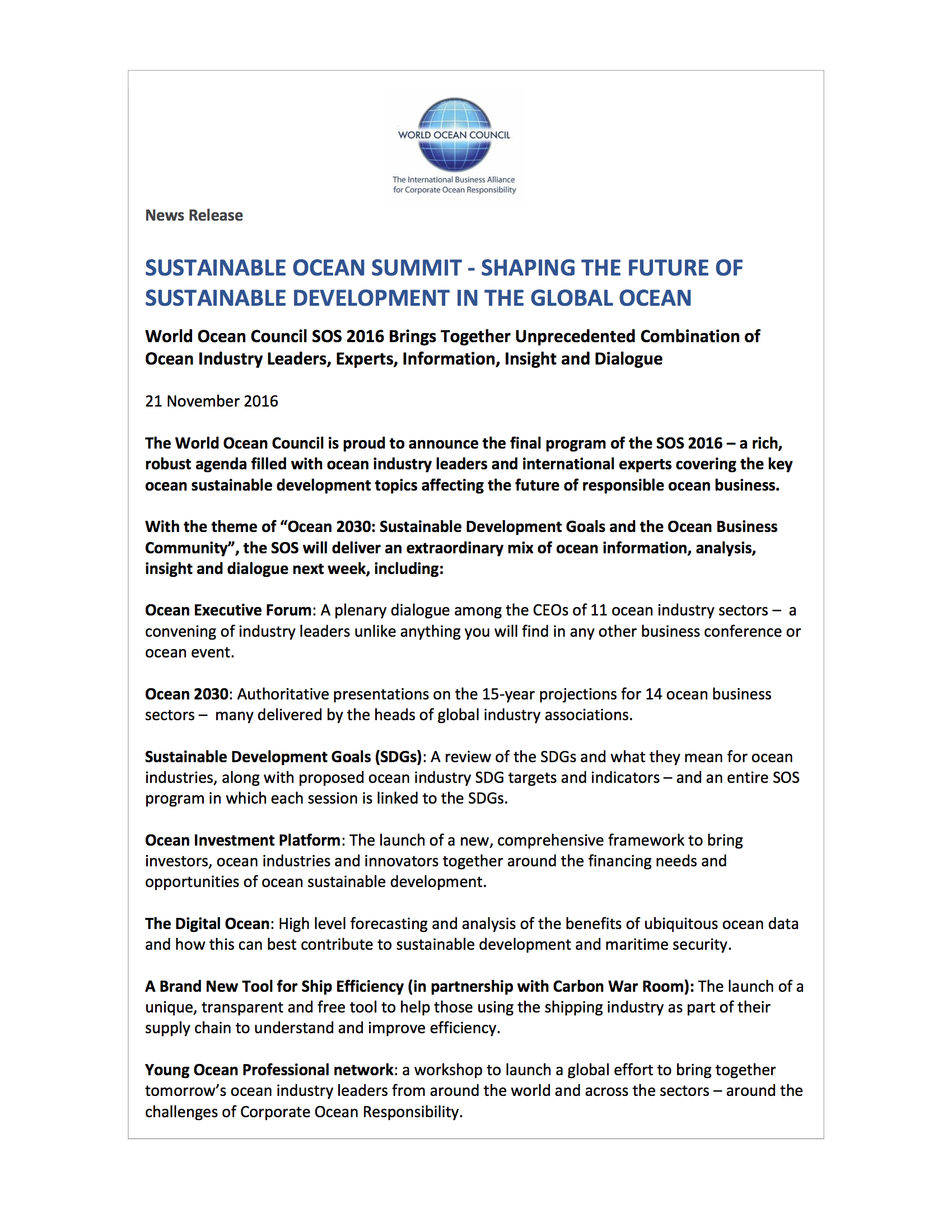 new releases world ocean council sustainable ocean summit shaping the future of ocean sustainable development 21 2016