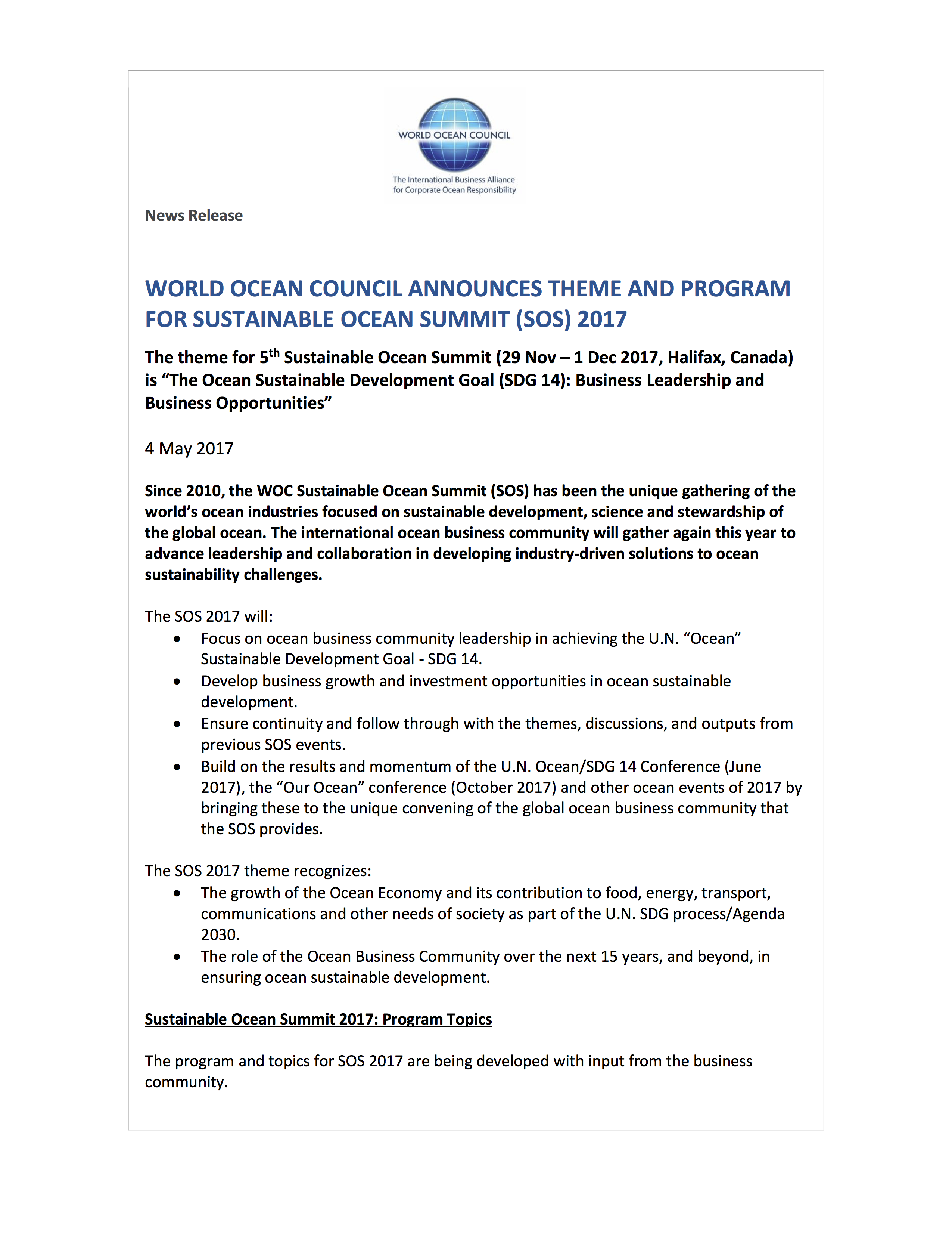 WOC News Release SOS 2017 Theme and Program