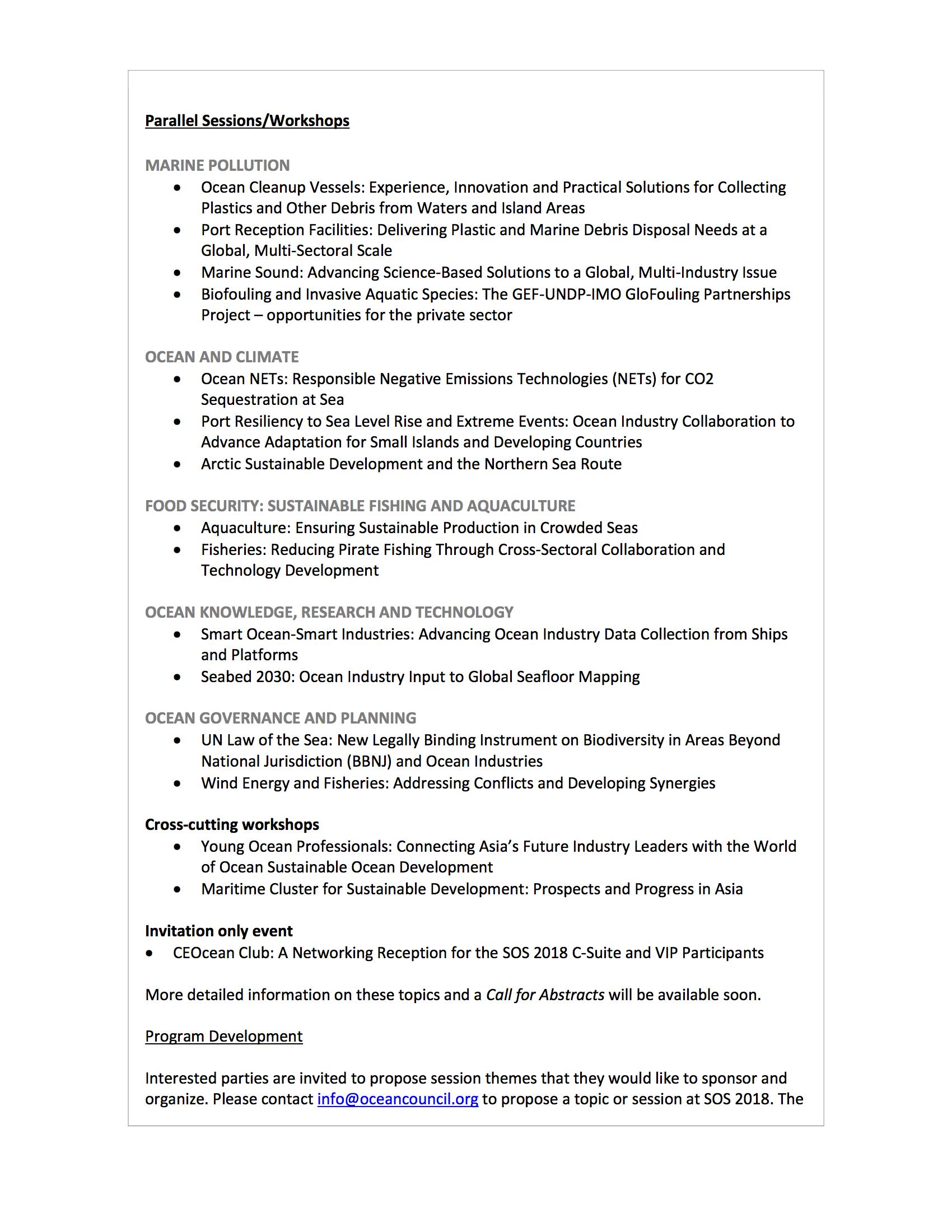 SOS 2018 Program Topics - 20 April 2018 - World Ocean Council