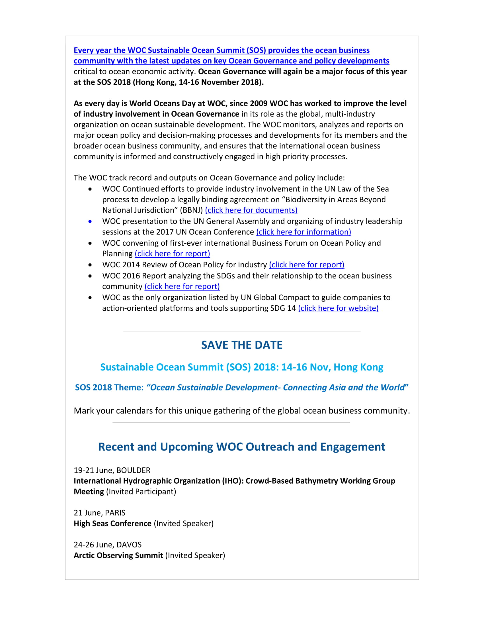 Ocean Governance and the Private Sector - 11 June 2018