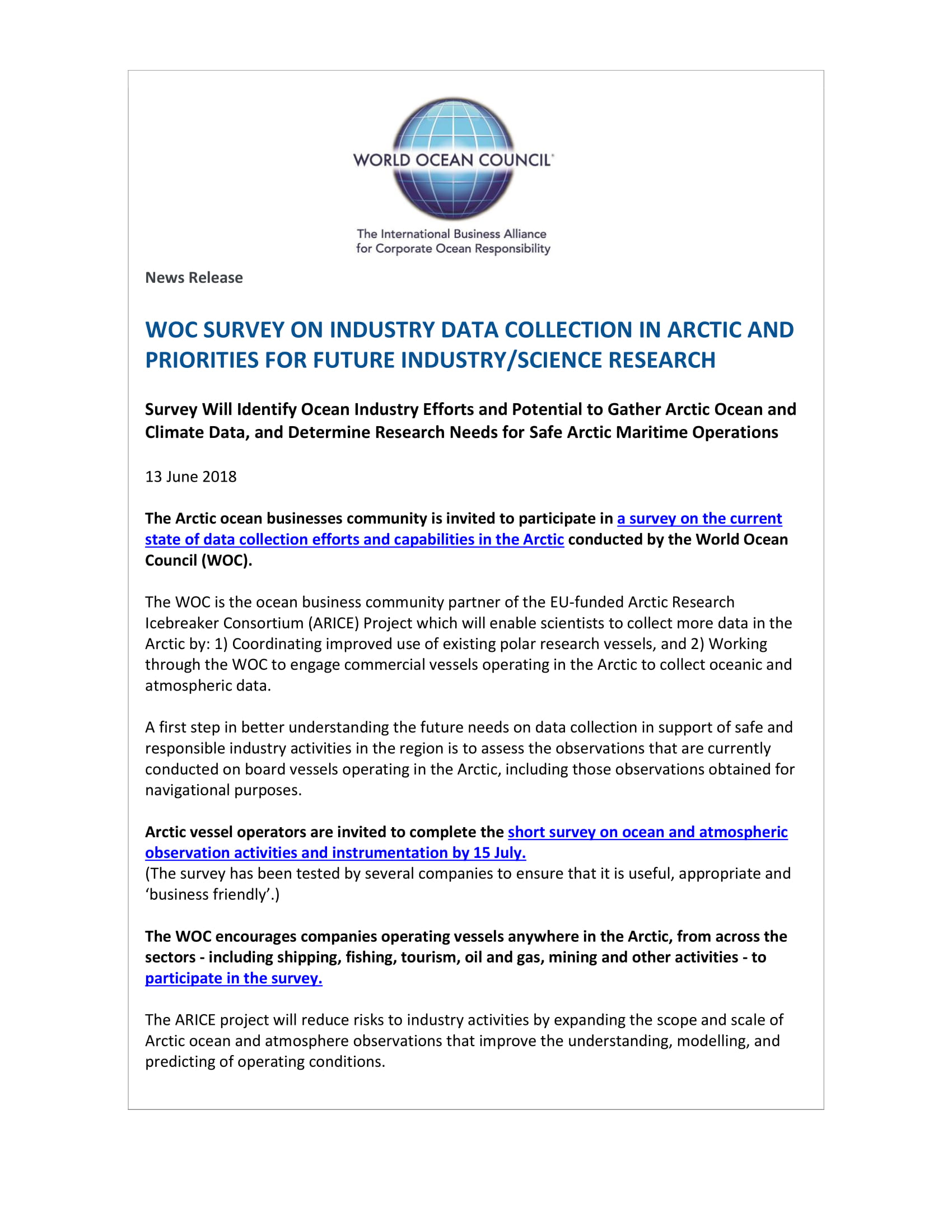 Woc launches arctic industry survey on data collection 13 june woc launches arctic industry survey on data collection 13 june 2018 publicscrutiny Images