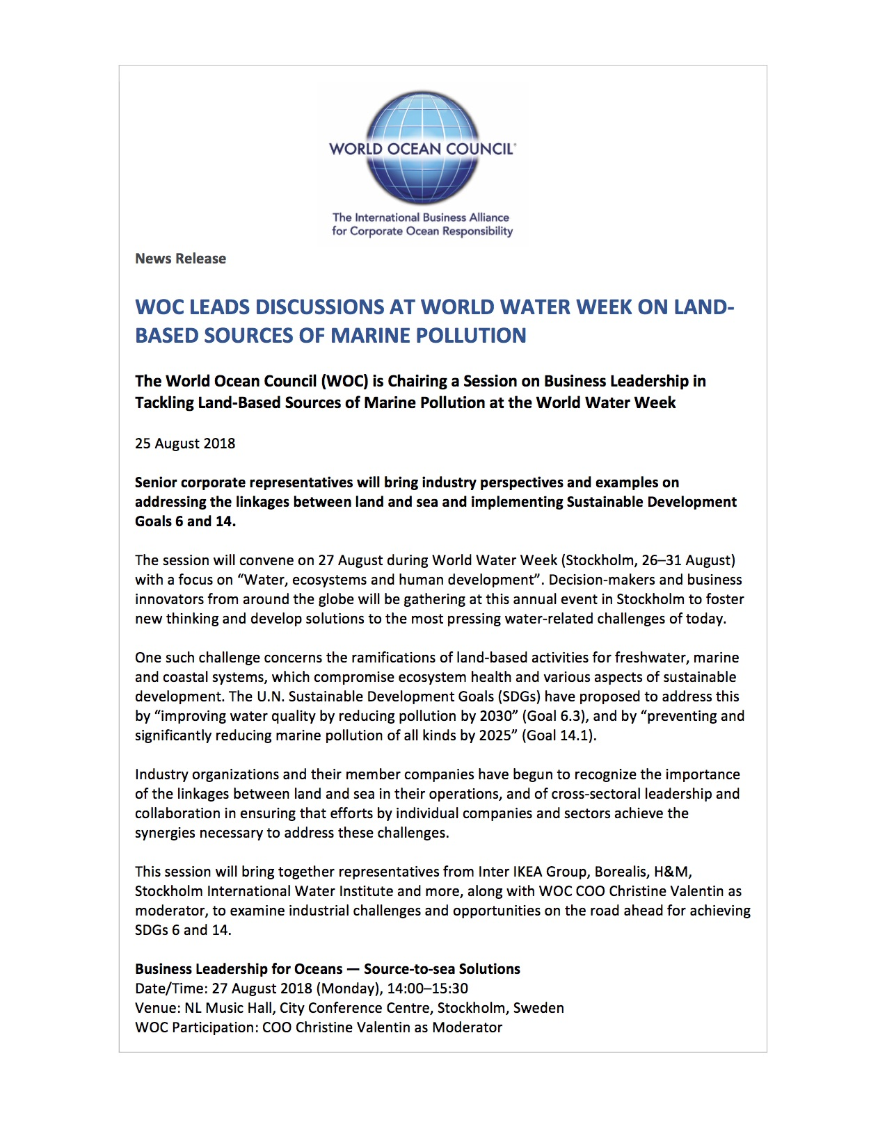 WOC Leads Discussions at World Water Week on Land-based Sources of Marine Pollution - 25 August 2018