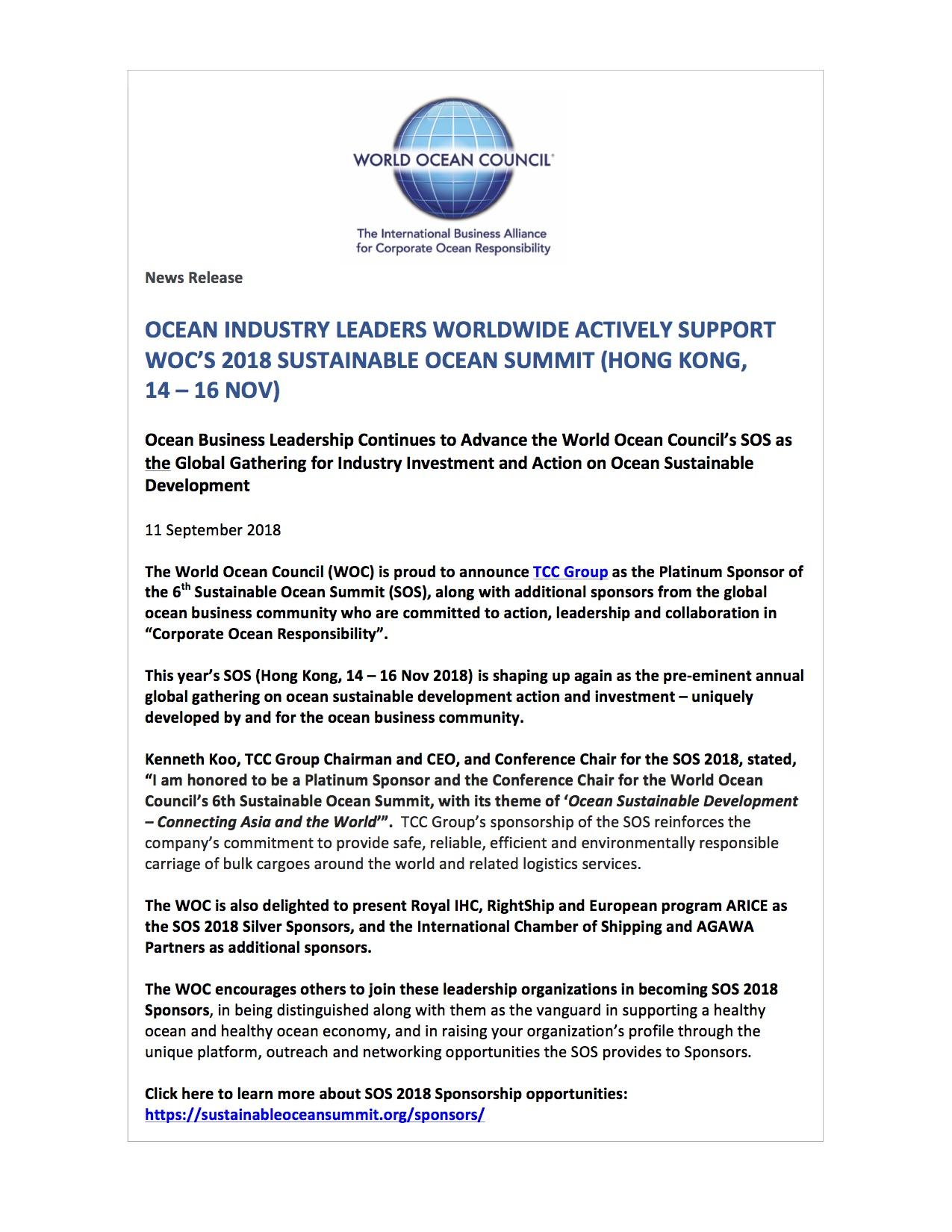 Ocean Industry Leaders Worldwide Actively Support WOC's 2018 Sustainable Ocean Summit (Hong Kong, 14 - 16 Nov) - 11 September 2018