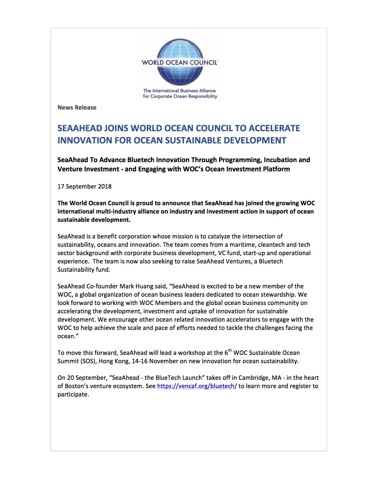 SeaAhead Joins World Ocean Council to Accelerate Innovation for Ocean Sustainable Development - 17 September 2018
