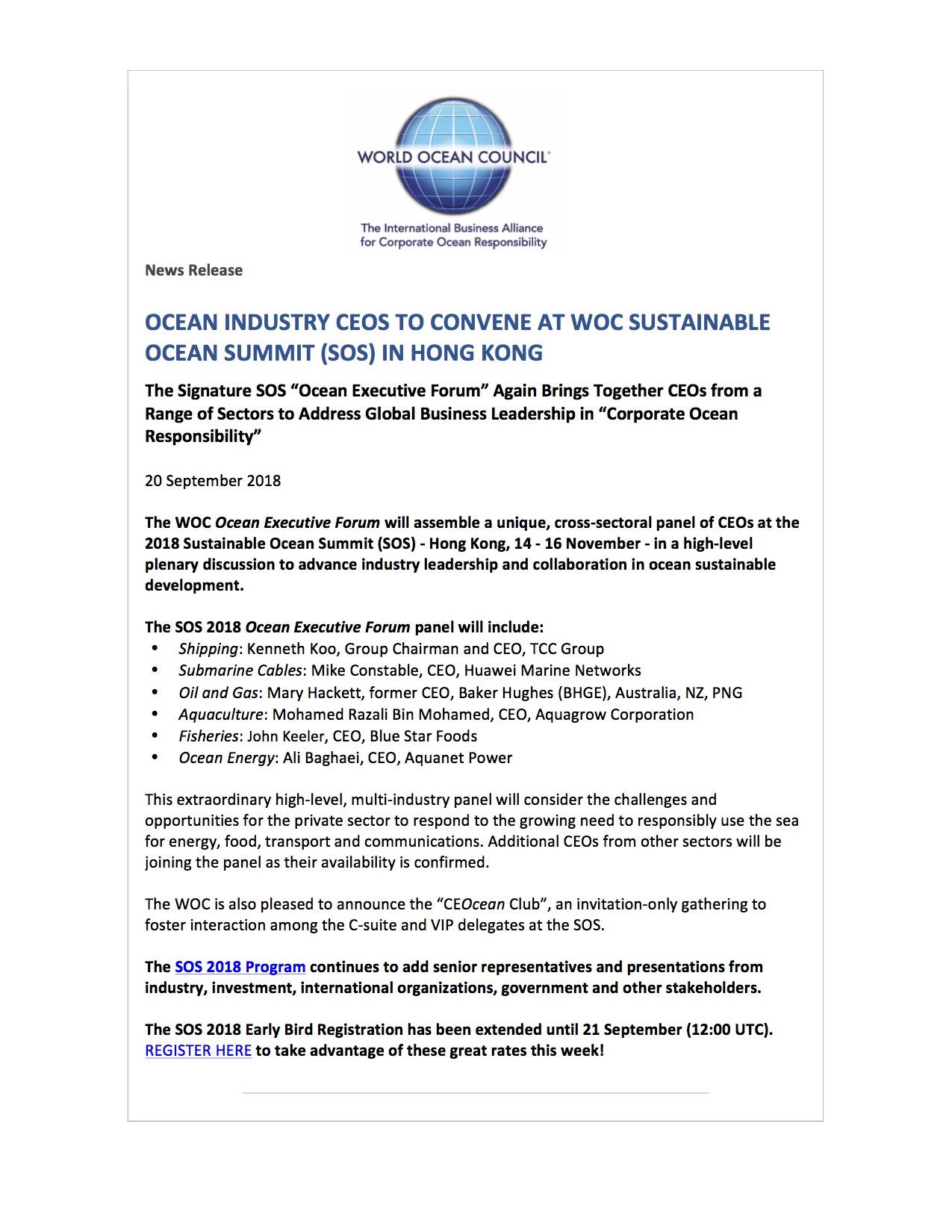 Ocean Industry CEOs to Convene at WOC Sustainable Ocean Summit (SOS) in Hong Kong - 20 September 2018