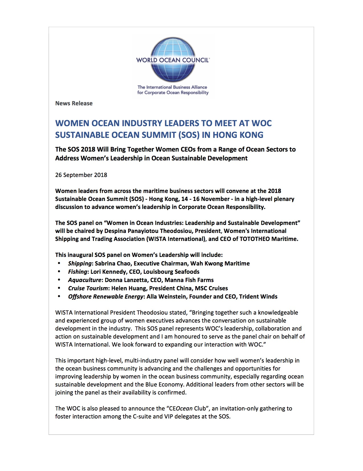 Women Ocean Industry Leaders to Meet at WOC Sustainable Ocean Summit (SOS) in Hong Kong - 26 September 2018