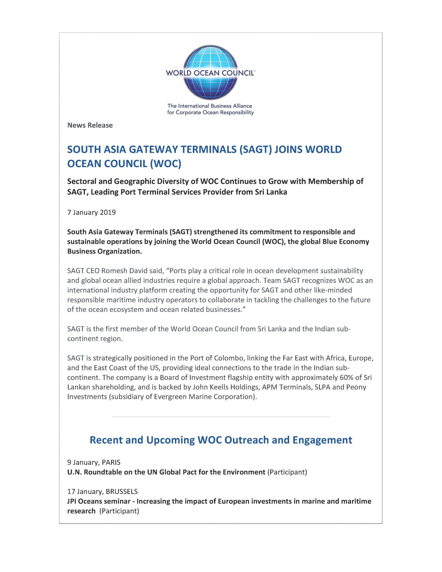 South Asia Gateway Terminals (SAGT) Joins World Ocean Council (WOC) - 7 January 2019