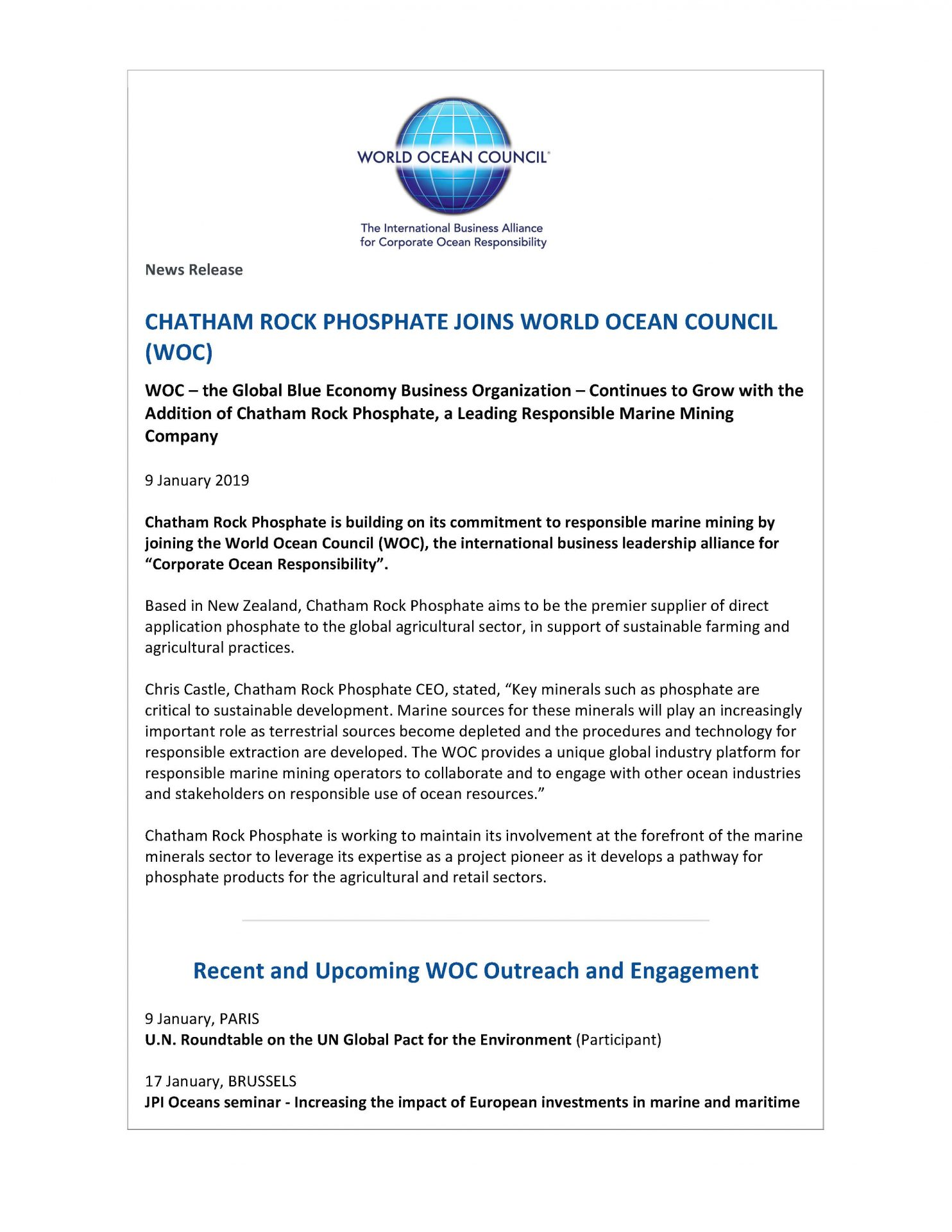 Chatham Rock Phosphate Joins World Ocean Council (WOC) - 9 January 2019
