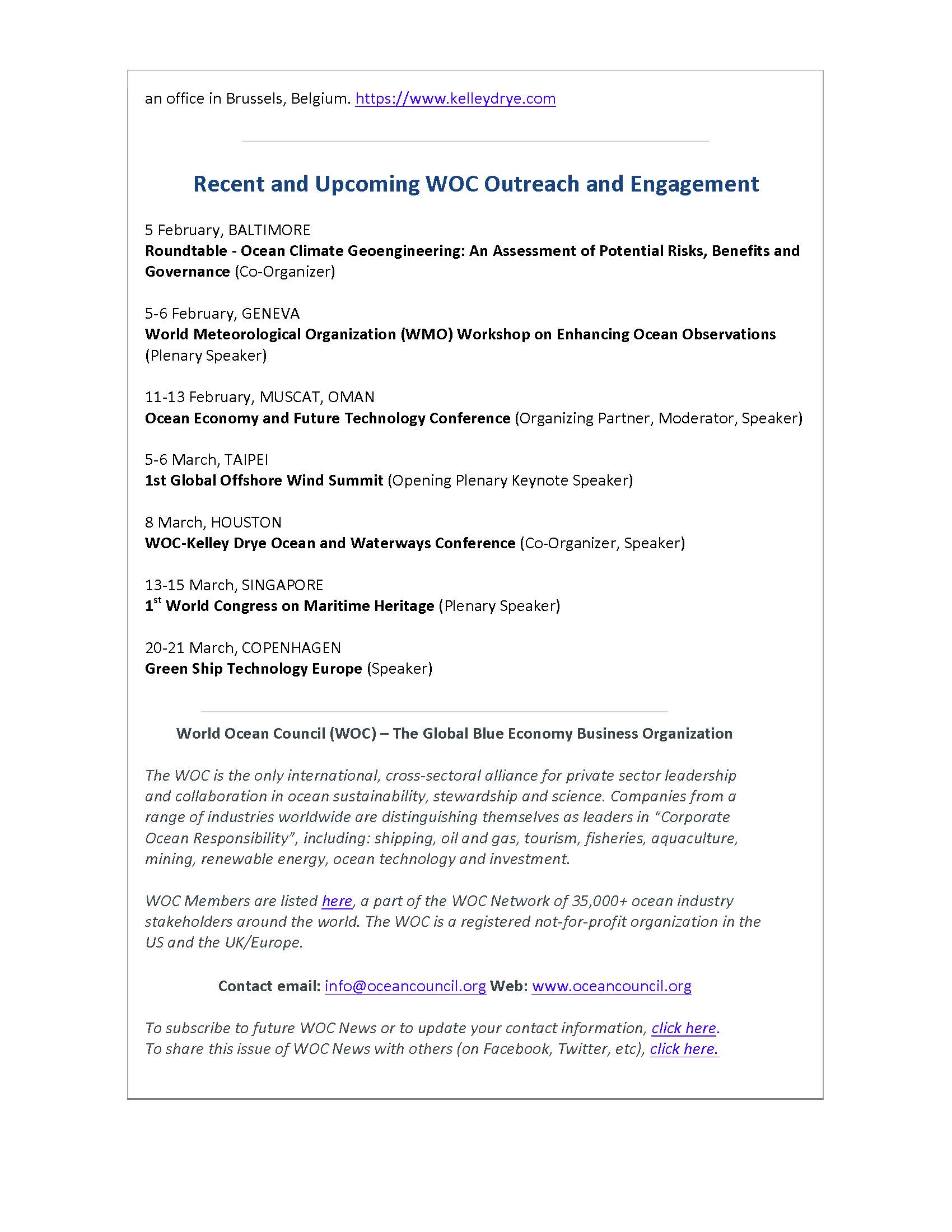 WOC and Law Firm Kelley Drye Collaborate to Present Ocean and Waterways Conference - 7 February 2019