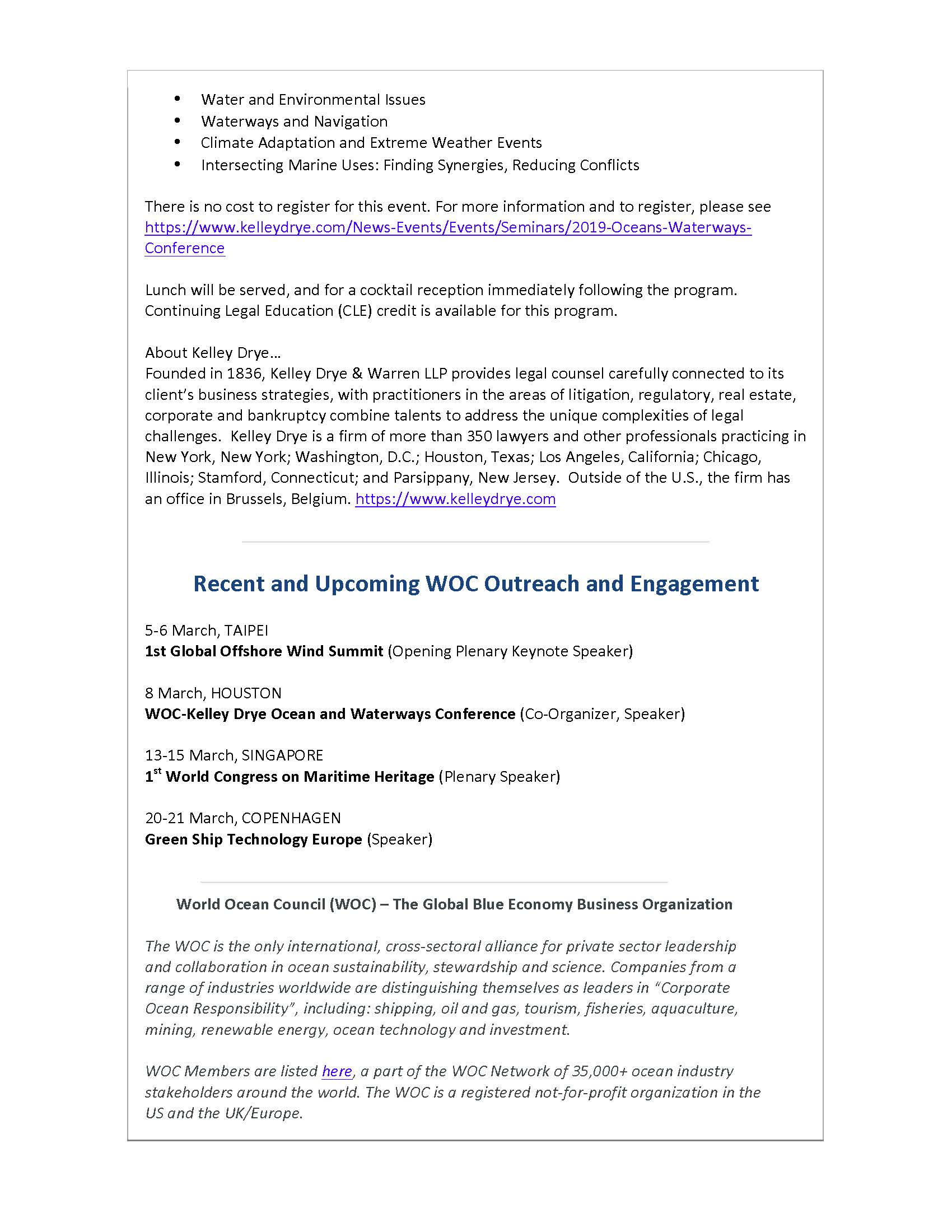 Houston Ocean and Waterways Conference Organized by WOC and Law Firm Kelley Drye - 28 February 2019