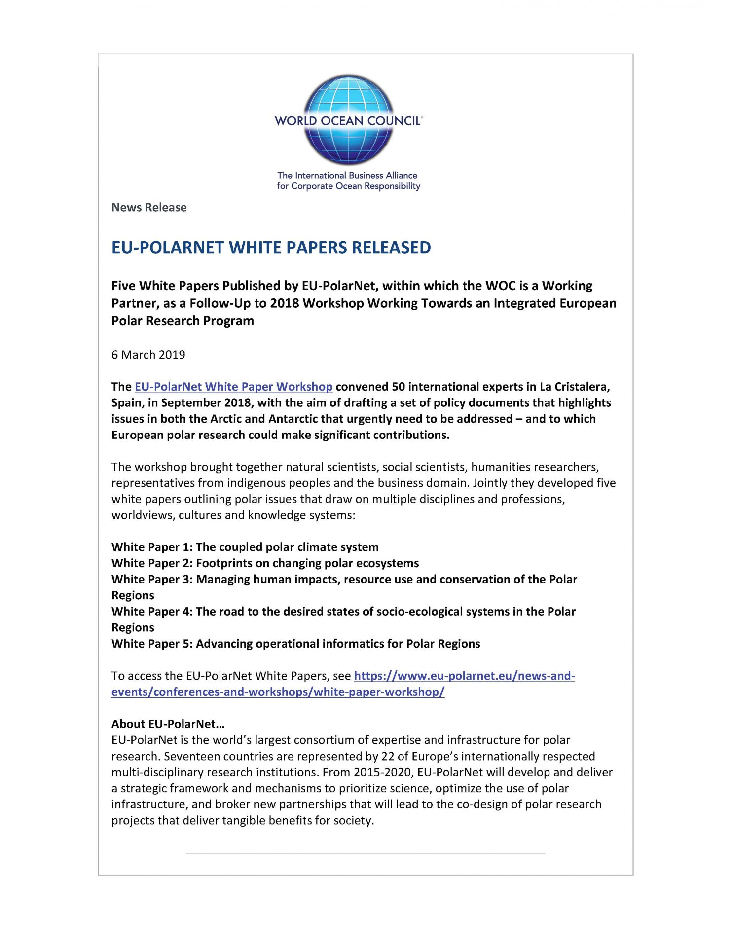 EU-PolarNet White Papers Released - 6 March 2019