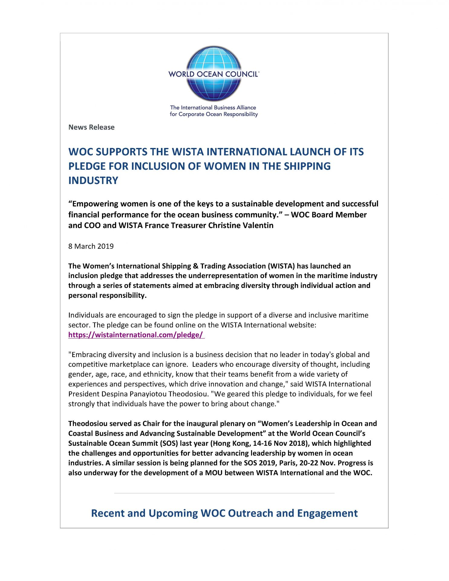 WOC Supports the WISTA International Launch of its Pledge for Inclusion of Women in the Shipping Industry - 8 March 2019