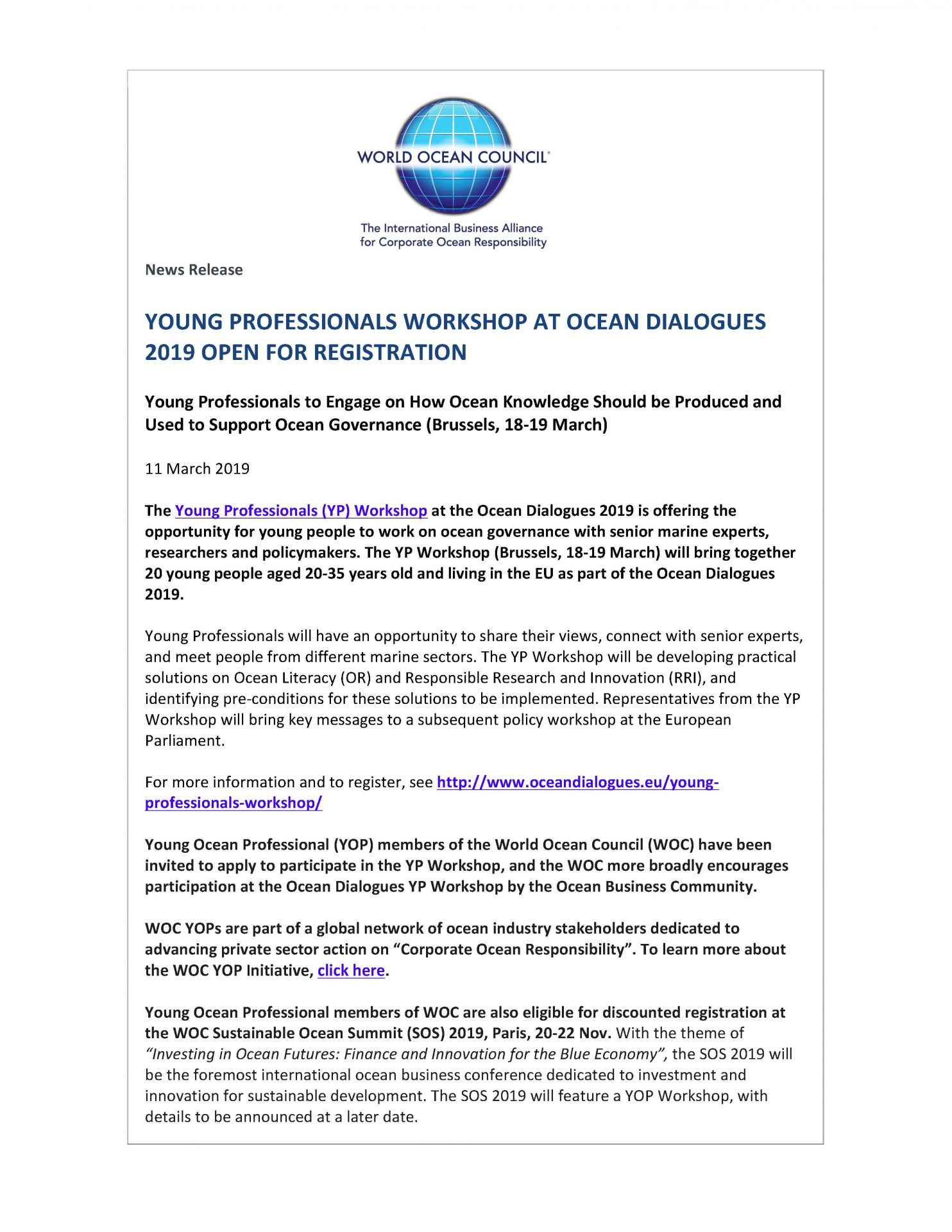 Young Professionals Workshop at Ocean Dialogues 2019 Open for Registration - 11 March 2019