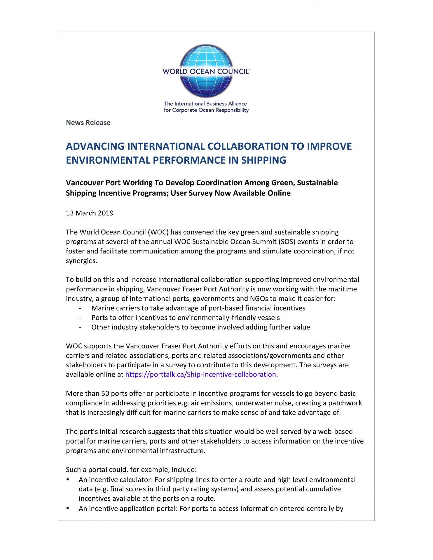 Advancing International Collaboration to Improve Environmental Performance in Shipping - 13 March 2019