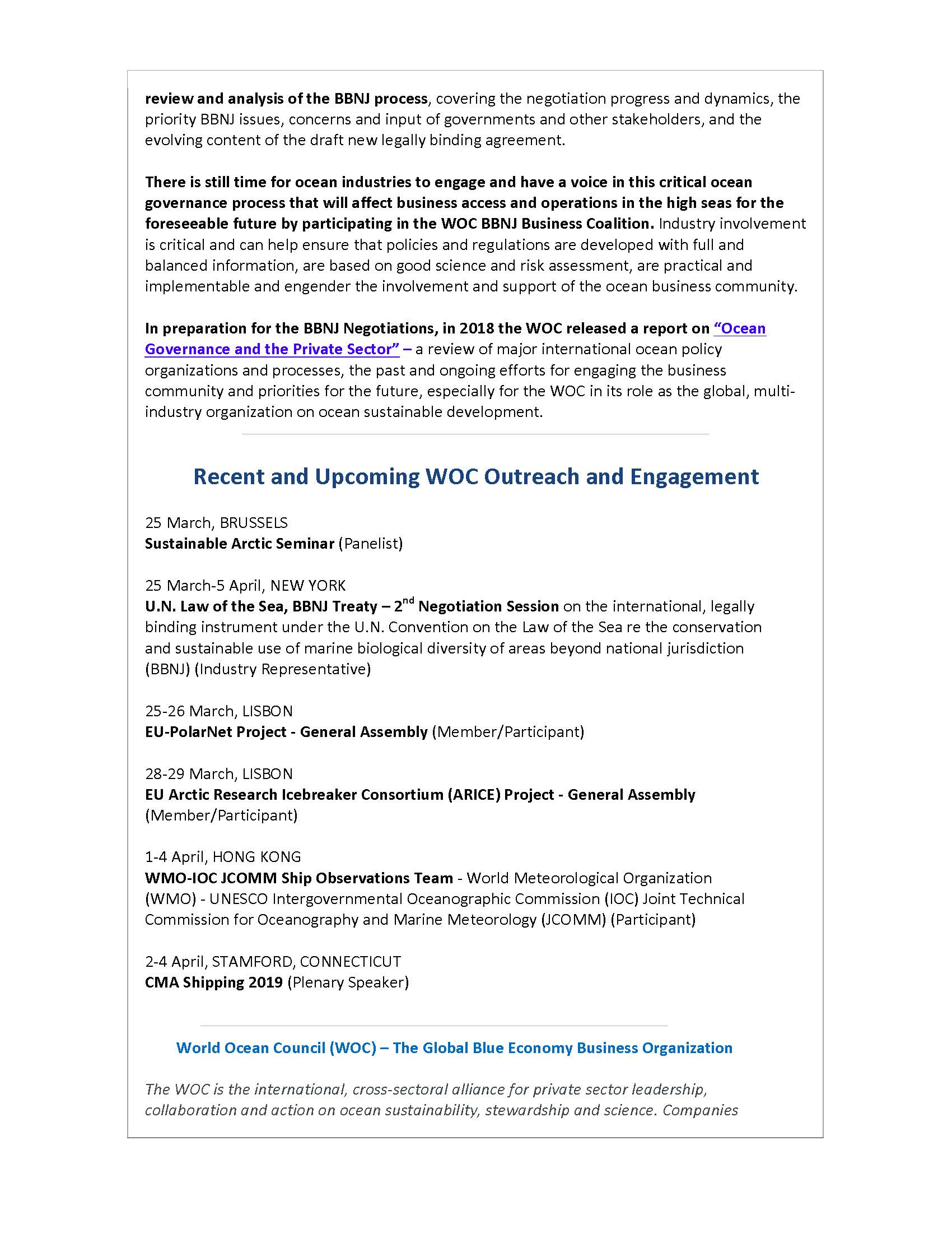 WOC Works to Ensure Business Input to Negotiations for New, Legally Binding Law of the Sea Regulations - 25 March 2019