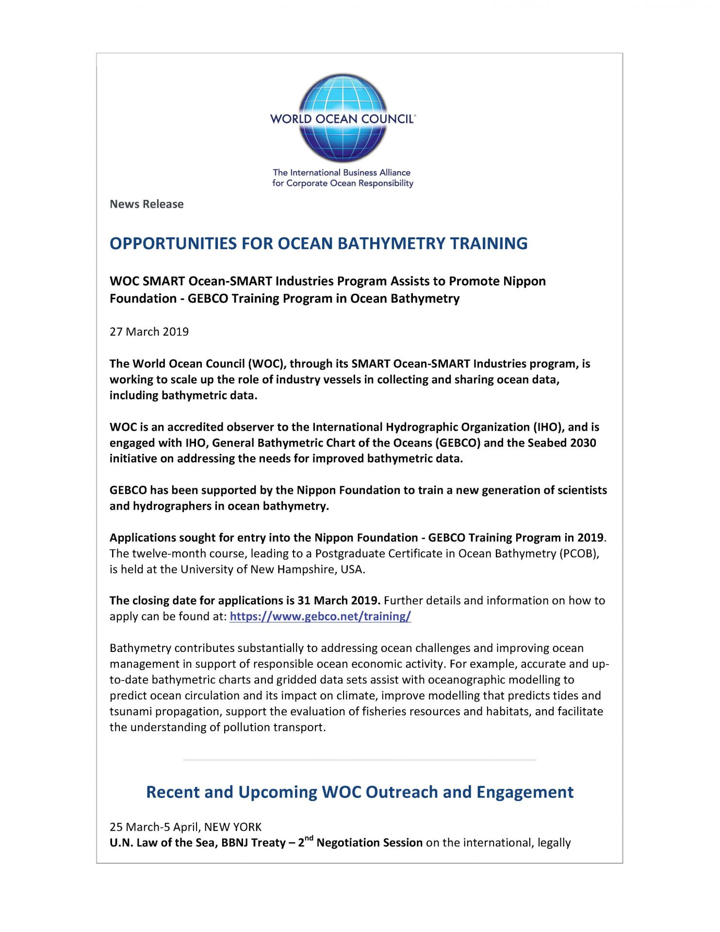 Opportunities for Ocean Bathymetry Training - 27 March 2019
