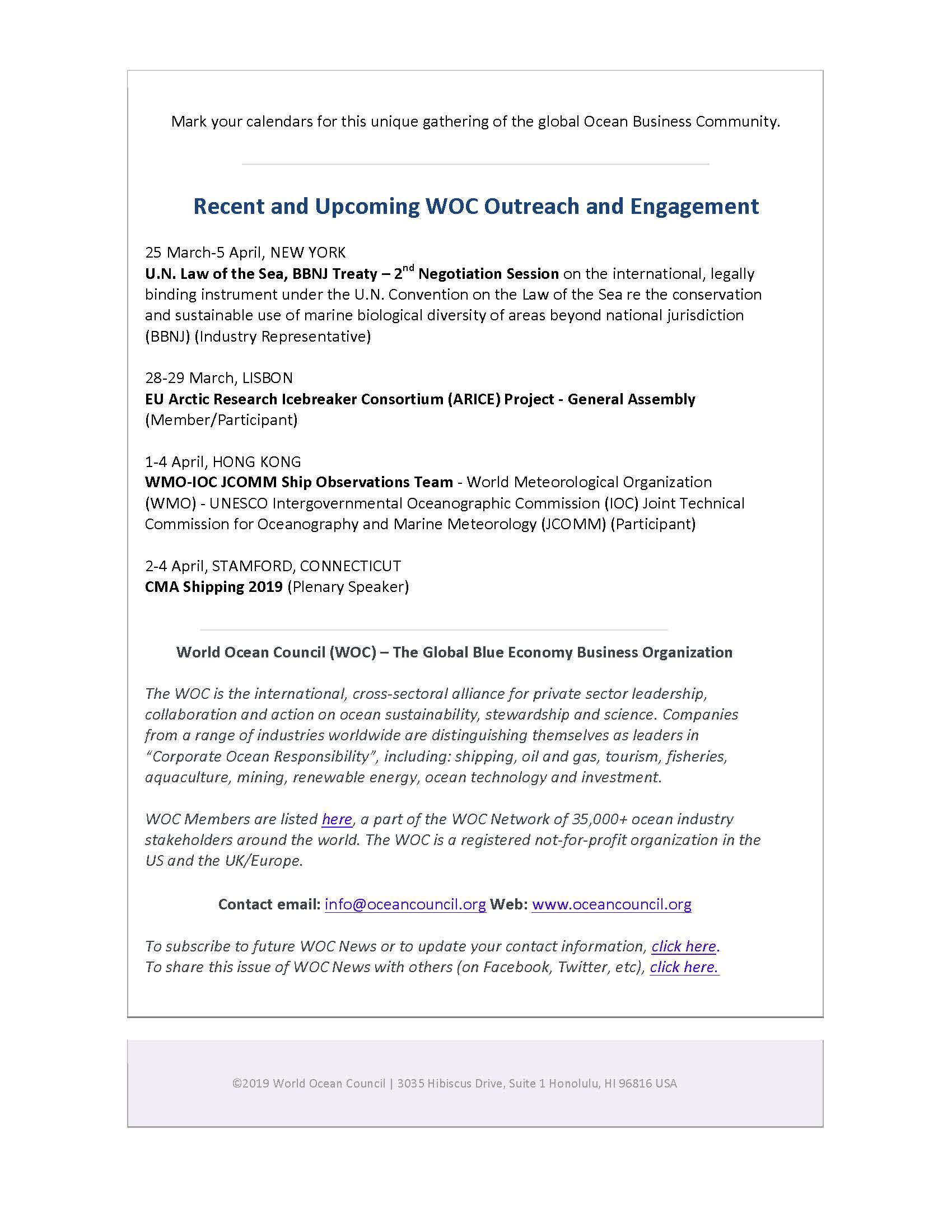 Seychelles Petroleum Company (SEYPEC) Joins World Ocean Council (WOC) - 29 March 2019