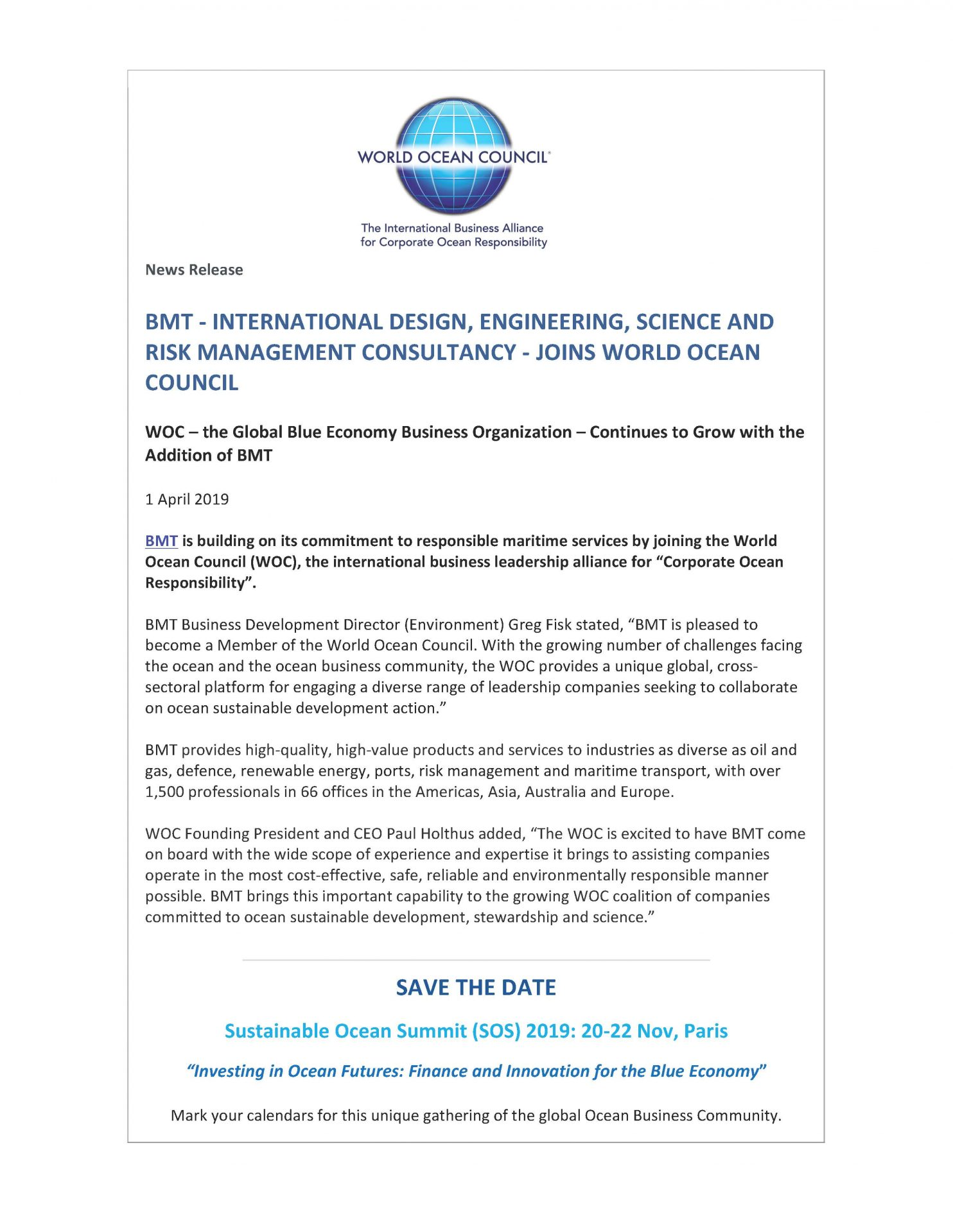BMT - International Design, Engineering, Science and Risk Management Consultancy - Joins World Ocean Council - 1 April 2019