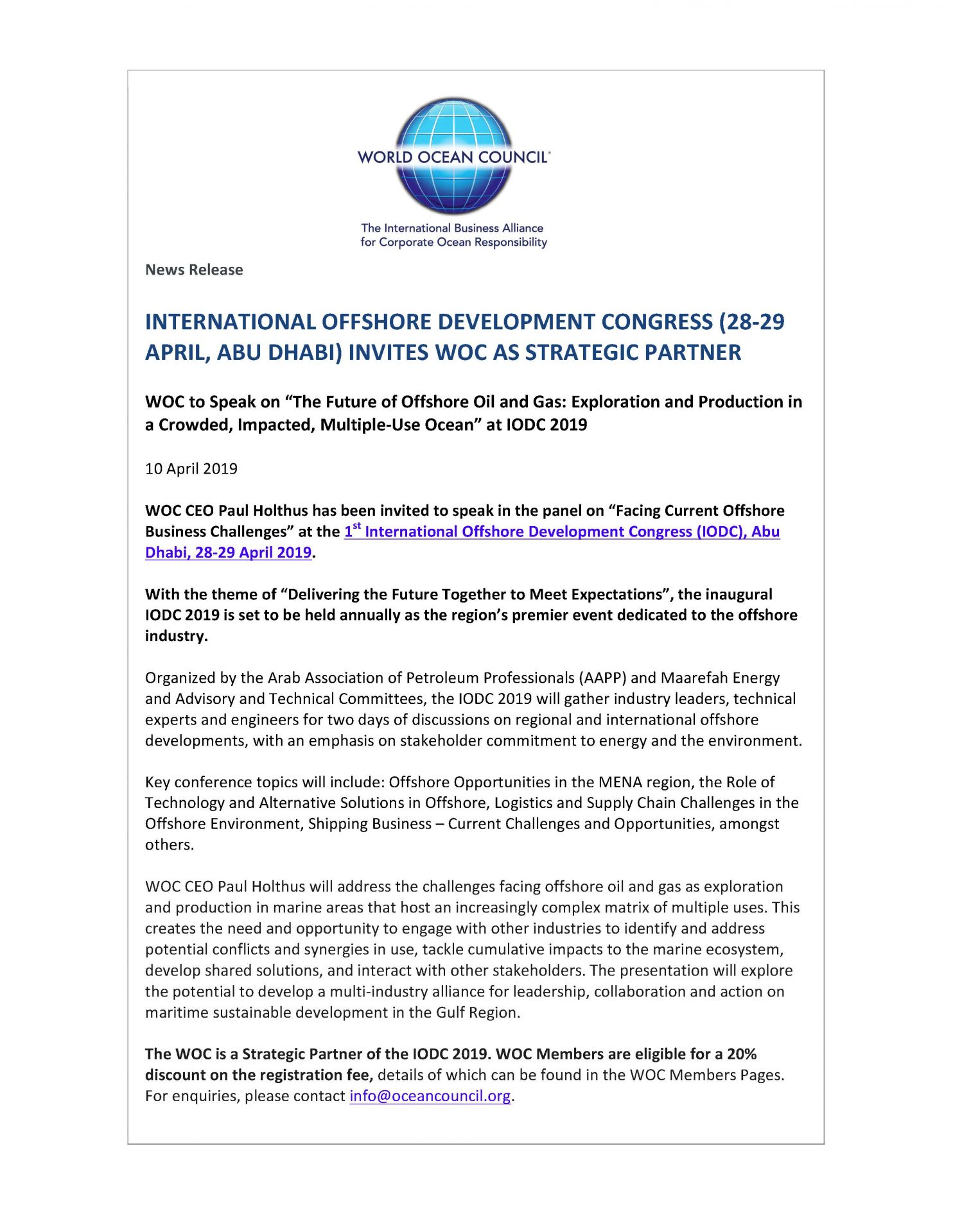 International Offshore Development Congress (28-29 Apr, Abu Dhabi) Invites WOC as Strategic Partner - 10 April 2019