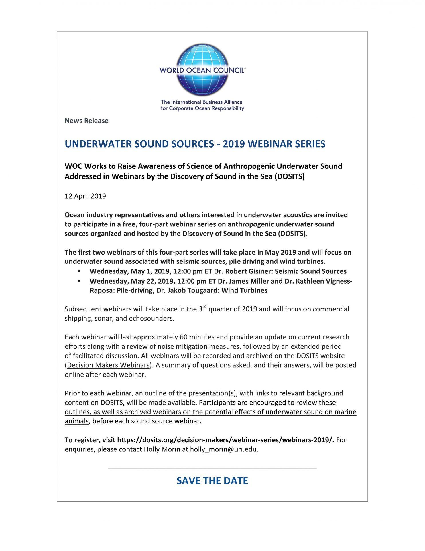 Underwater Sound Sources - 2019 Webinar Series - 12 April 2019