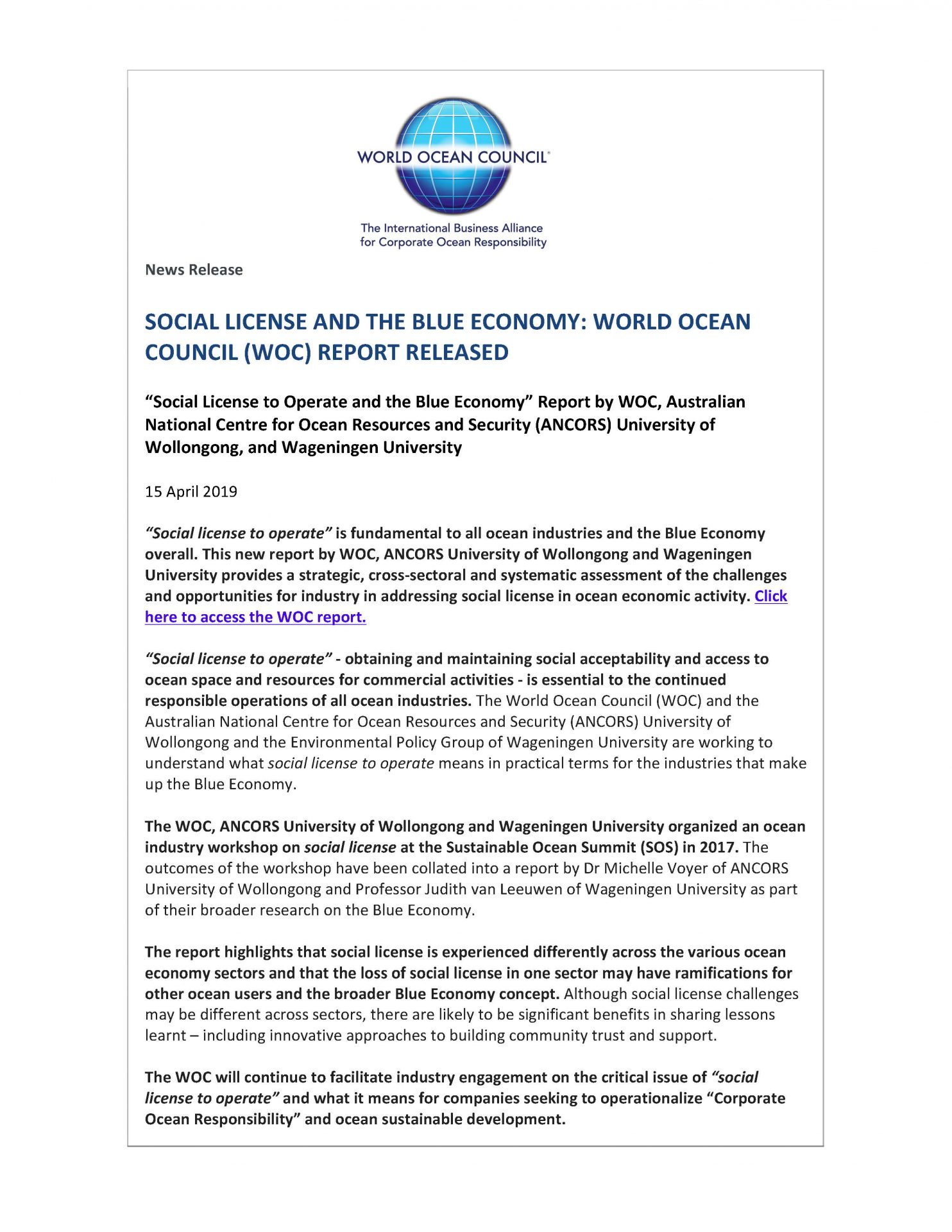 Social License and the Blue Economy: World Ocean Council (WOC) Report Released - 15 April 2019