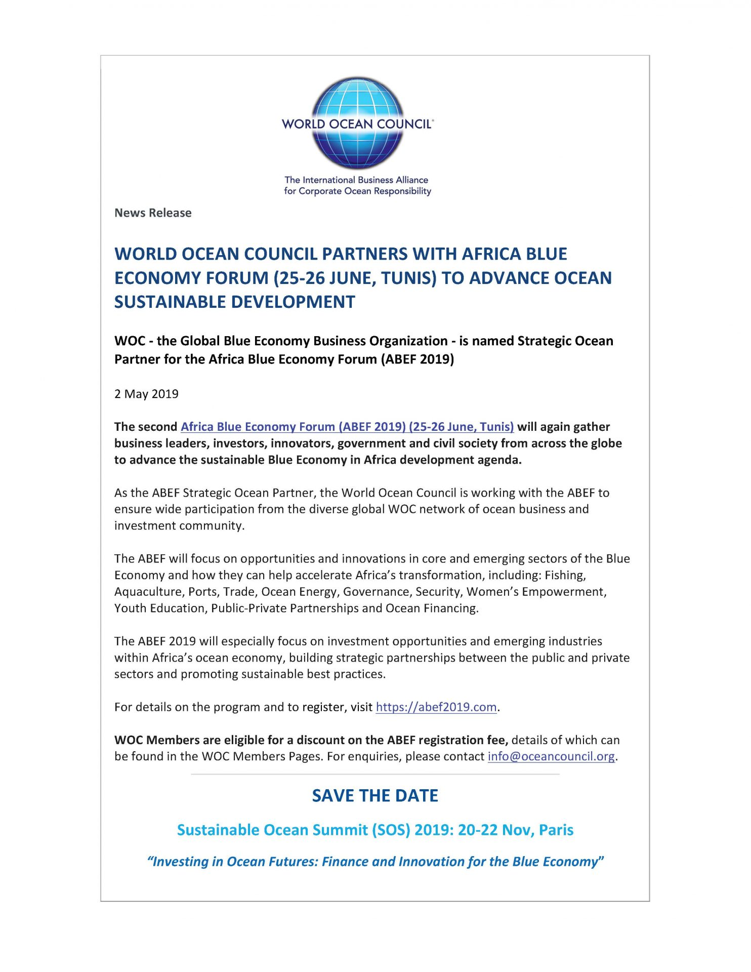 World Ocean Council Partners with Africa Blue Economy Forum (25-26 June, Tunis) to Advance Ocean Sustainable Development - 2 May 2019