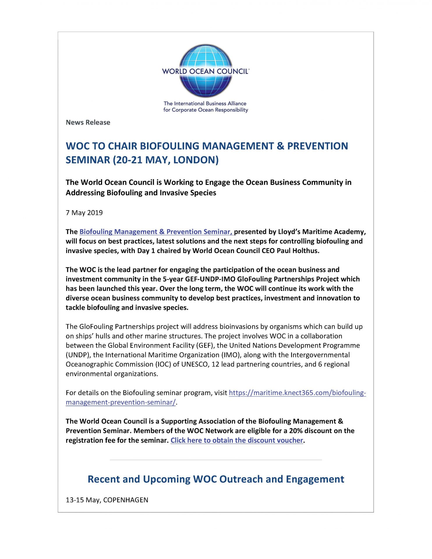 WOC to Chair Biofouling Management & Prevention Seminar (20-21 May, London) - 7 May 2019