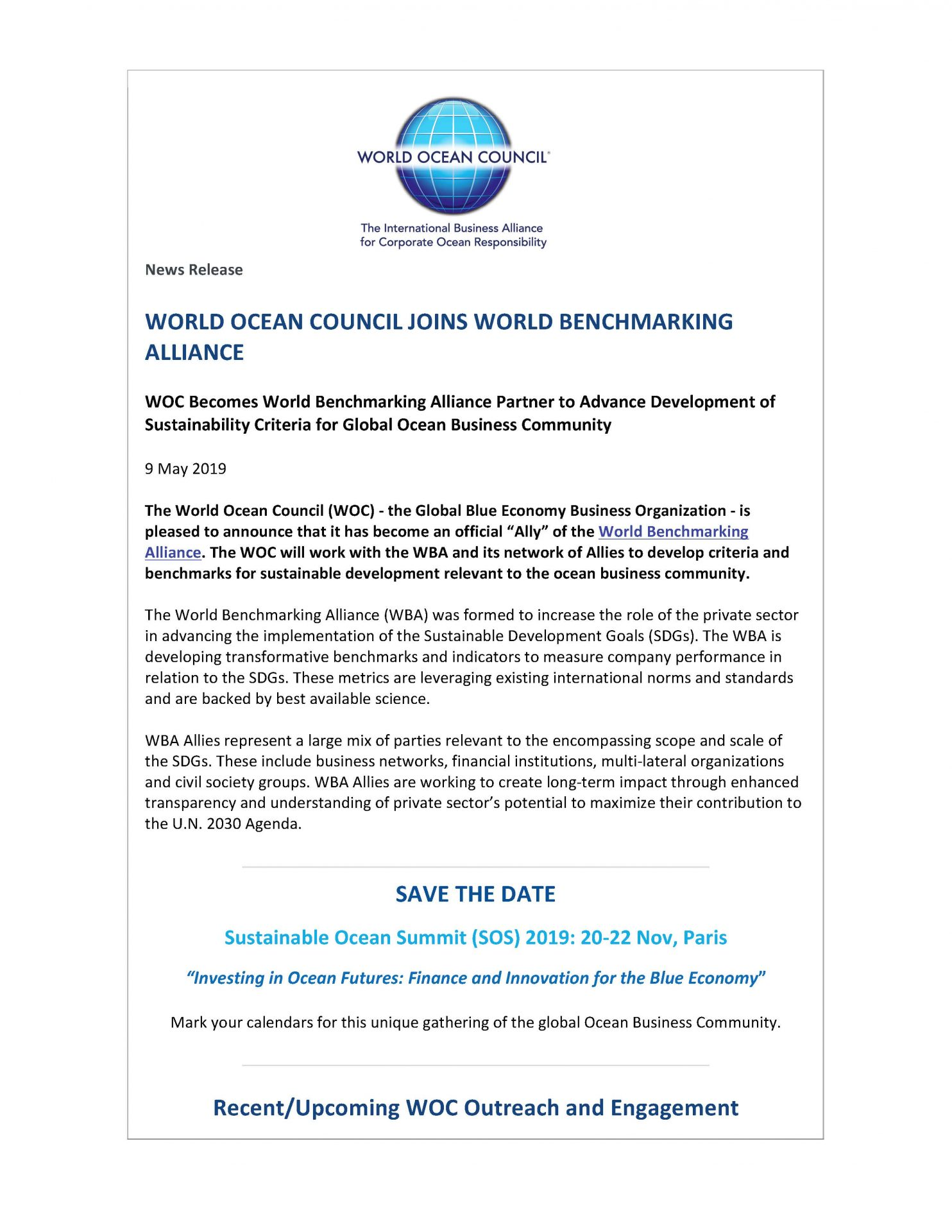 WOC Joins World Benchmarking Alliance - 9 May 2019