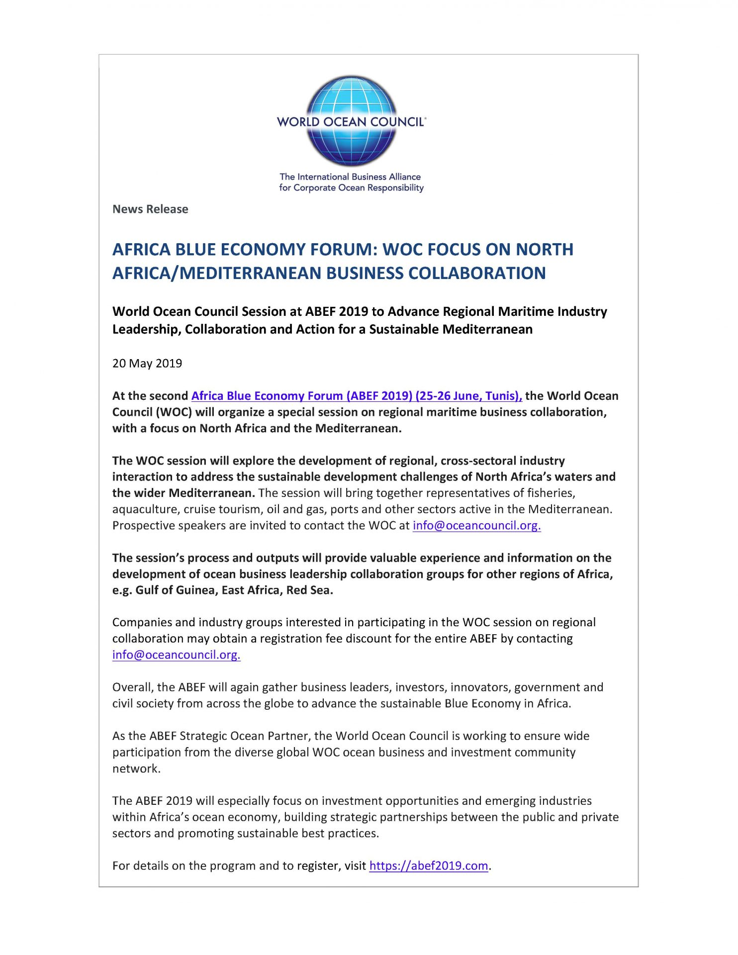 Africa Blue Economy Forum - WOC Focus On North Africa/Mediterranean Business Collaboration - 20 May 2019