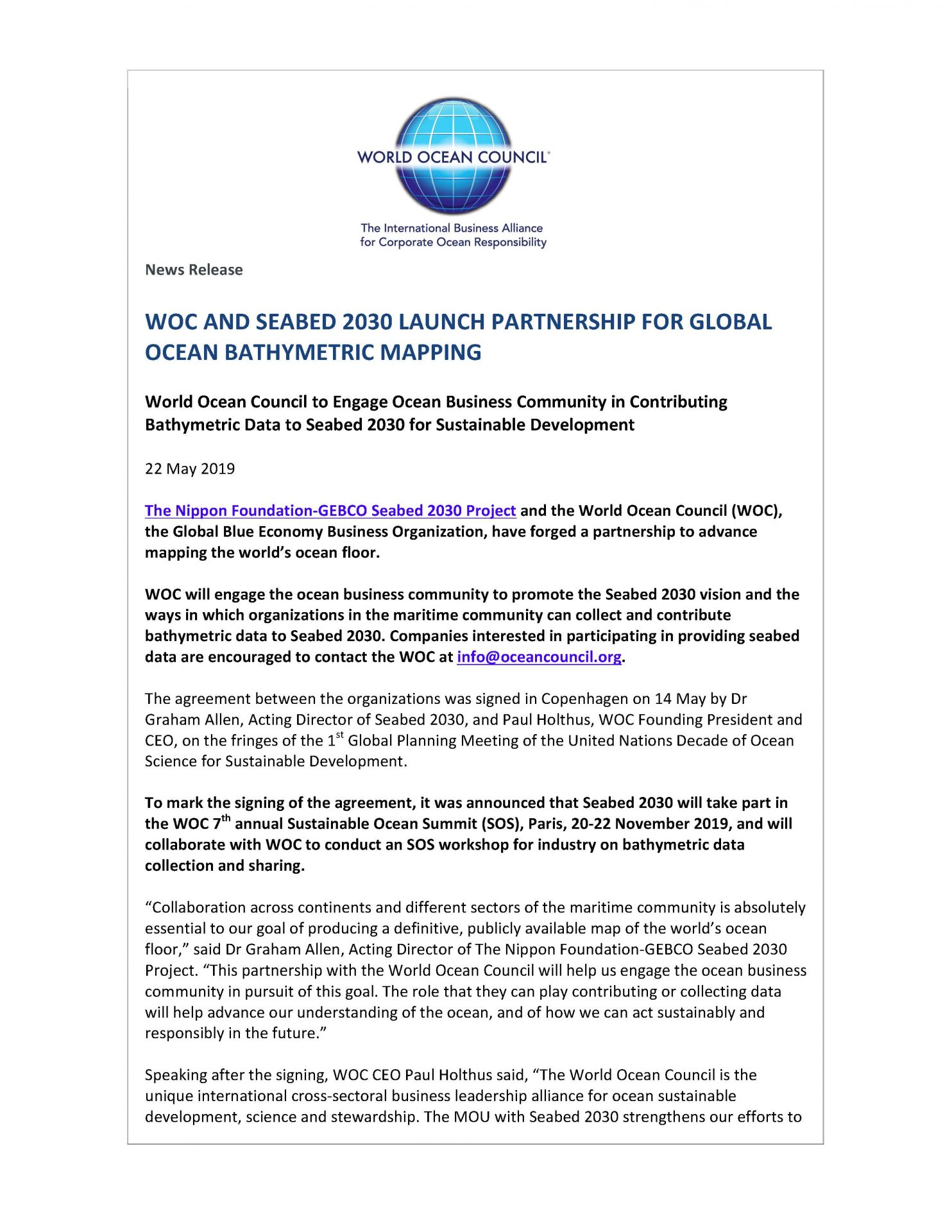 WOC and Seabed 2030 Launch Partnership for Global Ocean Bathymetric Mapping - 22 May 2019