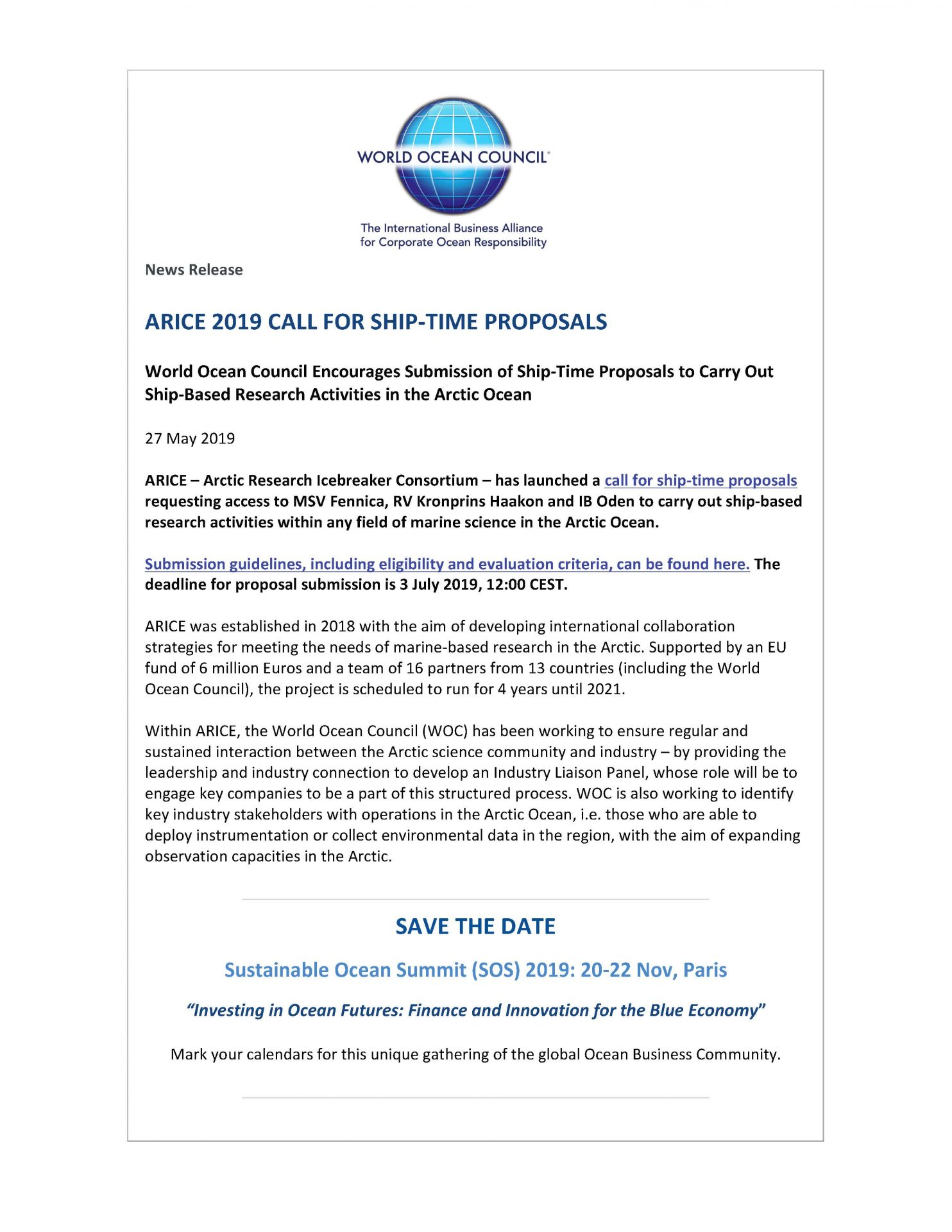 ARICE 2019 Call for Ship-Time Proposals - 27 May 2019