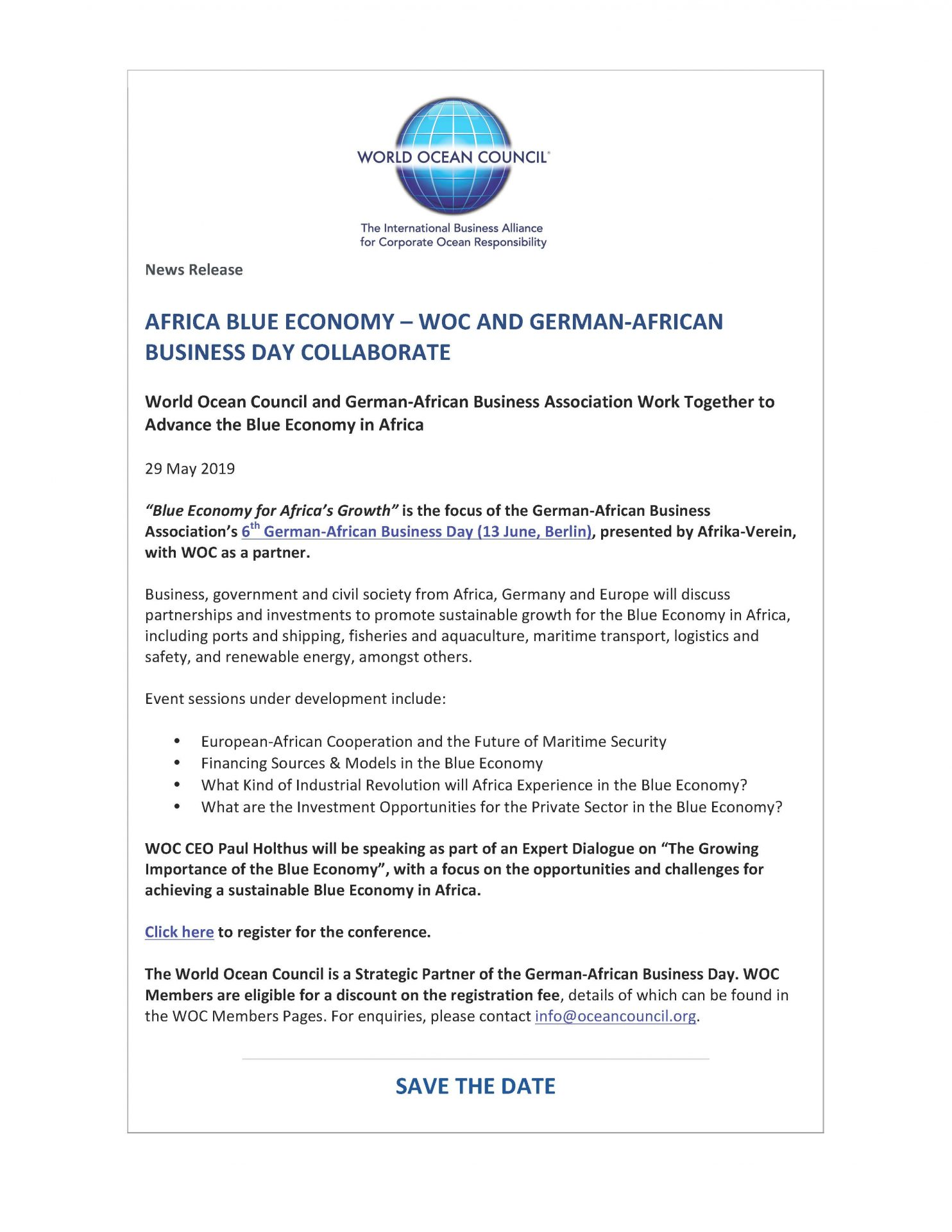 Africa Blue Economy - WOC and German-African Business Day Collaborate - 29 May 2019