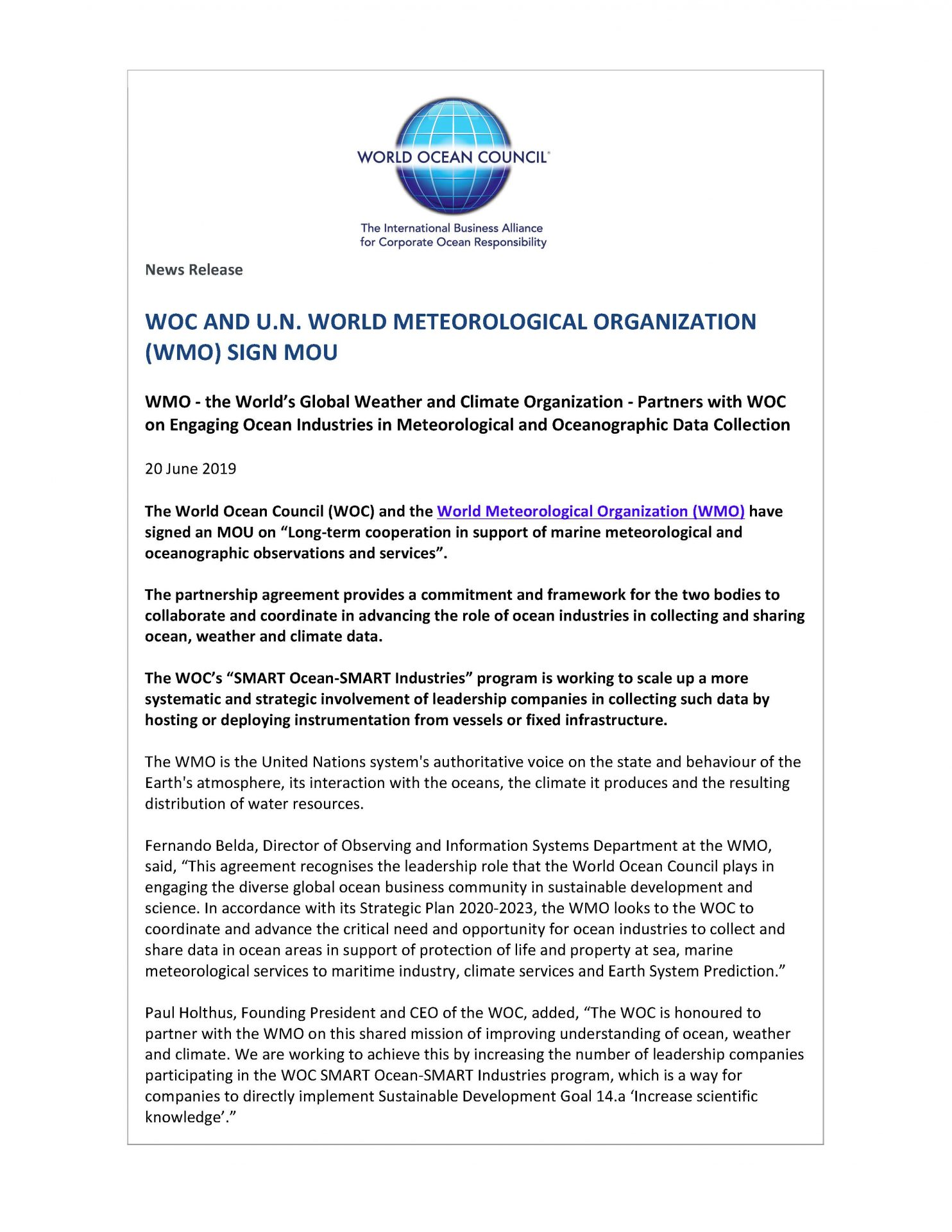 WOC and U.N. World Meteorological Organization Sign MOU - 20 June 2019