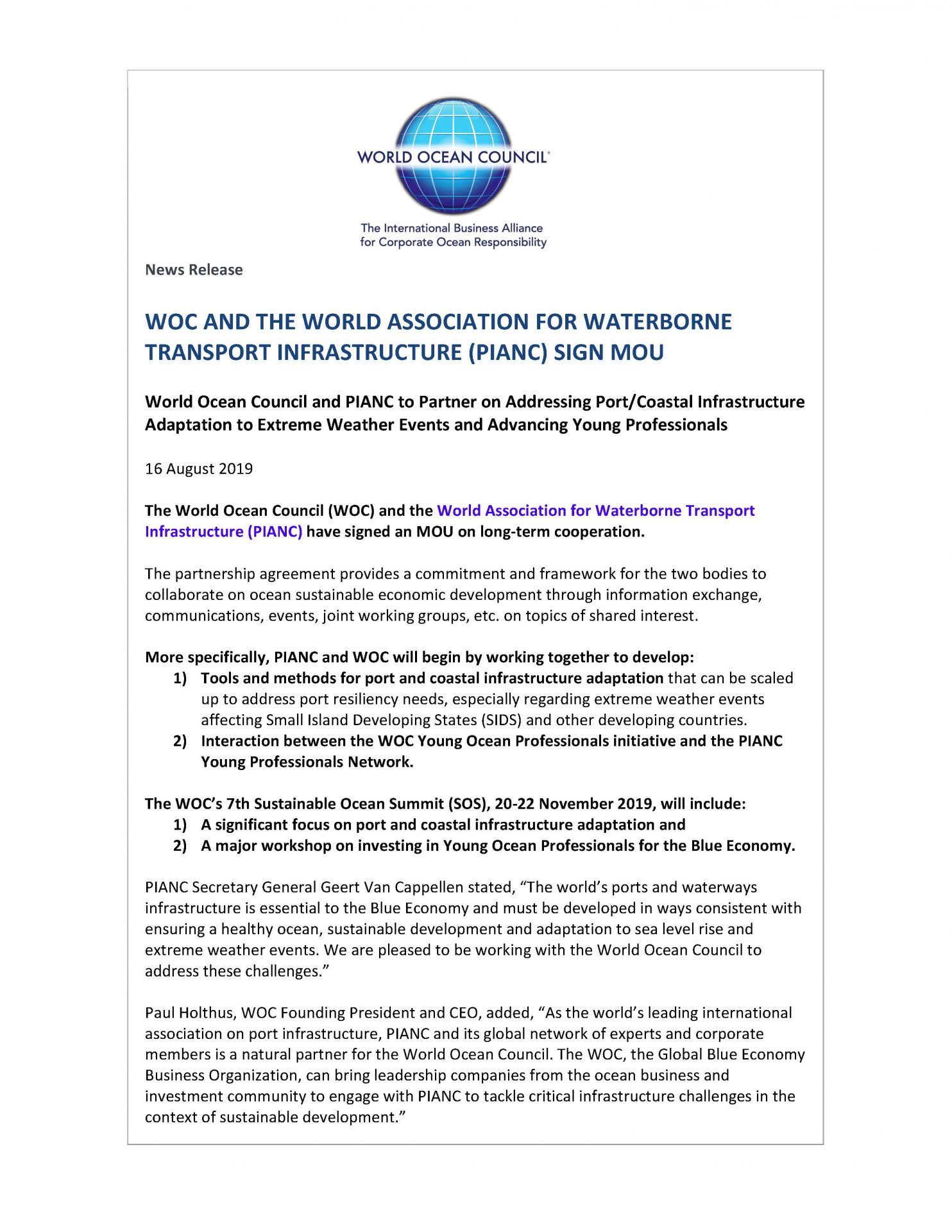 WOC and The World Association for Waterborne Transport Infrastructure (PIANC) Sign MOU - 16 August 2019
