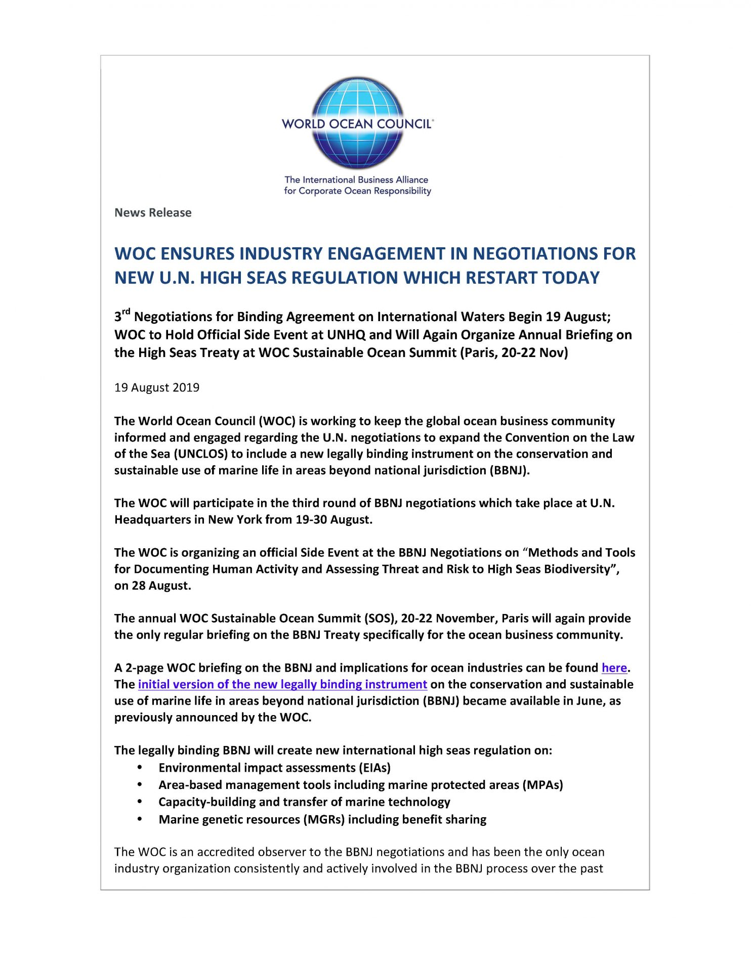 WOC Ensures Industry Engagement in Negotiations for New U.N. High Seas Regulation Which Restart Today - 19 August 2019