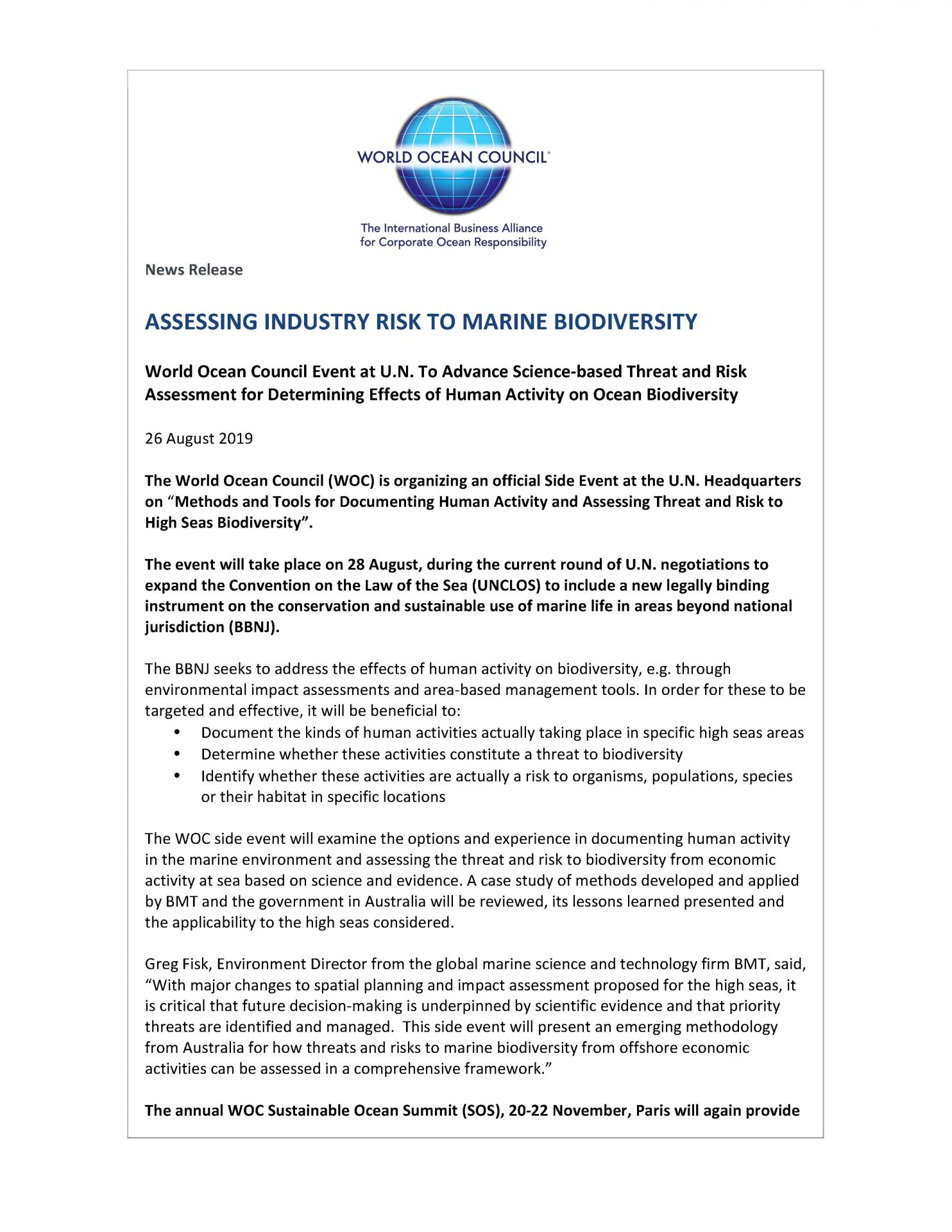 Assessing Industry Risk to Marine Biodiversity - 26 August 2019