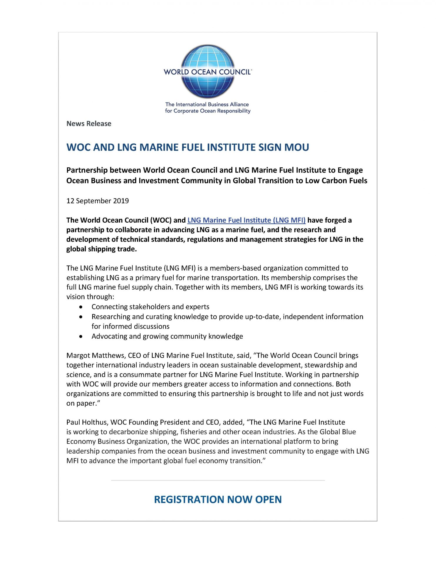 WOC and LNG Marine Fuel Institute Sign MOU - 12 September 2019