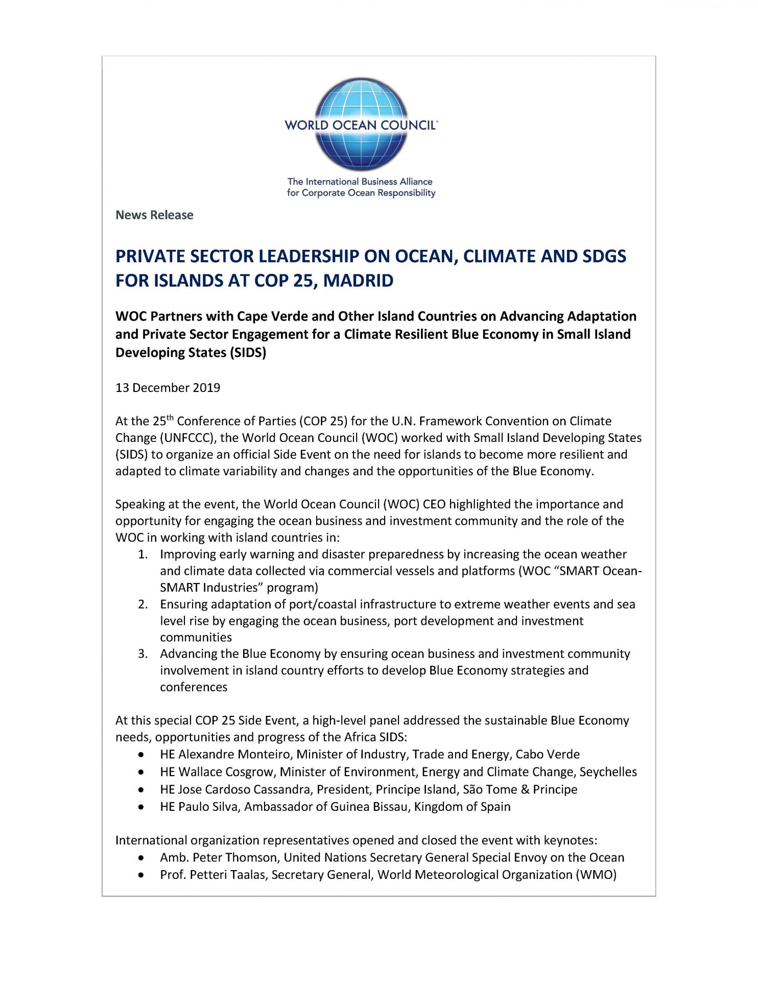 Private Sector Leadership on Ocean, Climate and SDGs for Islands - 13 December 2019