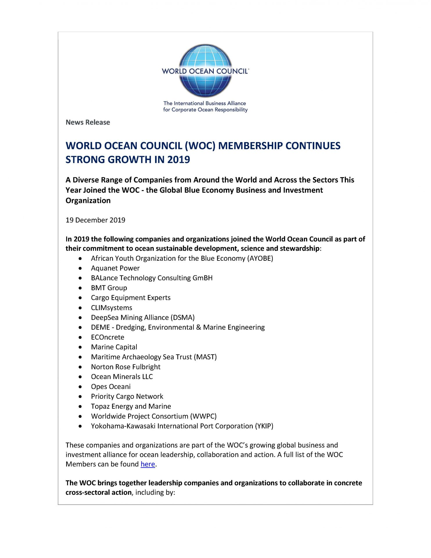 World Ocean Council (WOC) Membership Continues Strong Growth in 2019 - 19 December 2019