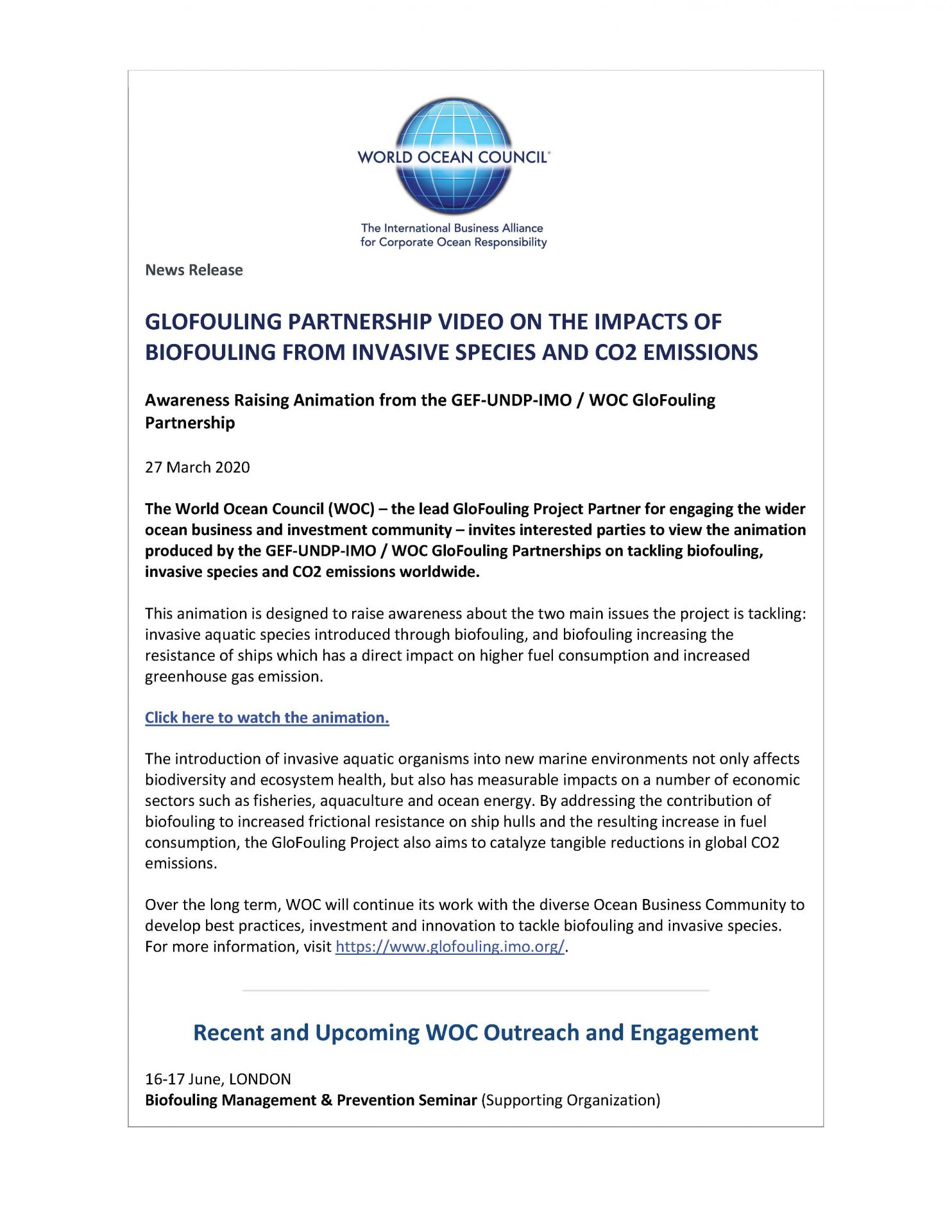 GloFouling Partnership Video on the Impacts of Biofouling from Invasive Species and CO2 Emissions - 27 March 2020