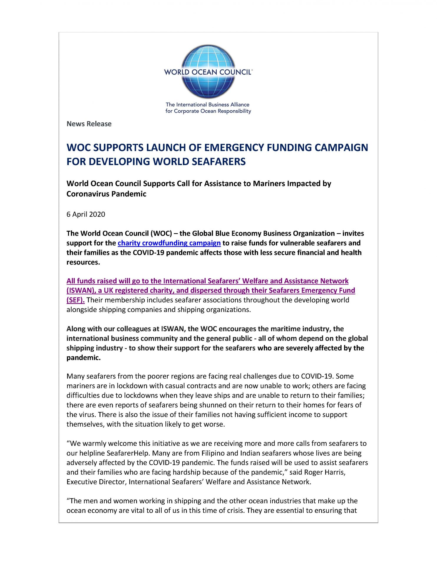 WOC Supports Launch of Emergency Funding Campaign for Developing World Seafarers - 6 April 2020